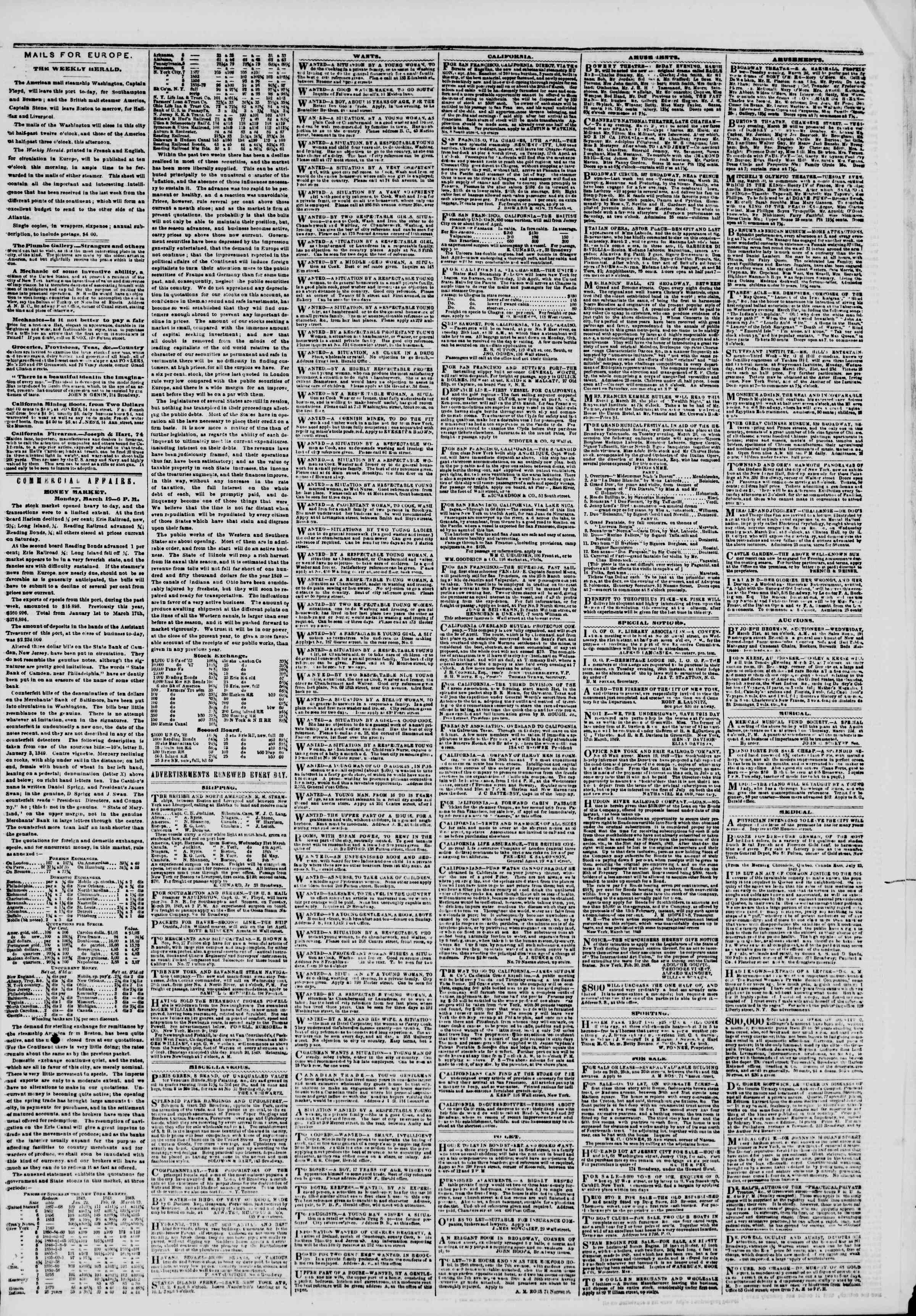 Newspaper of The New York Herald dated March 20, 1849 Page 5