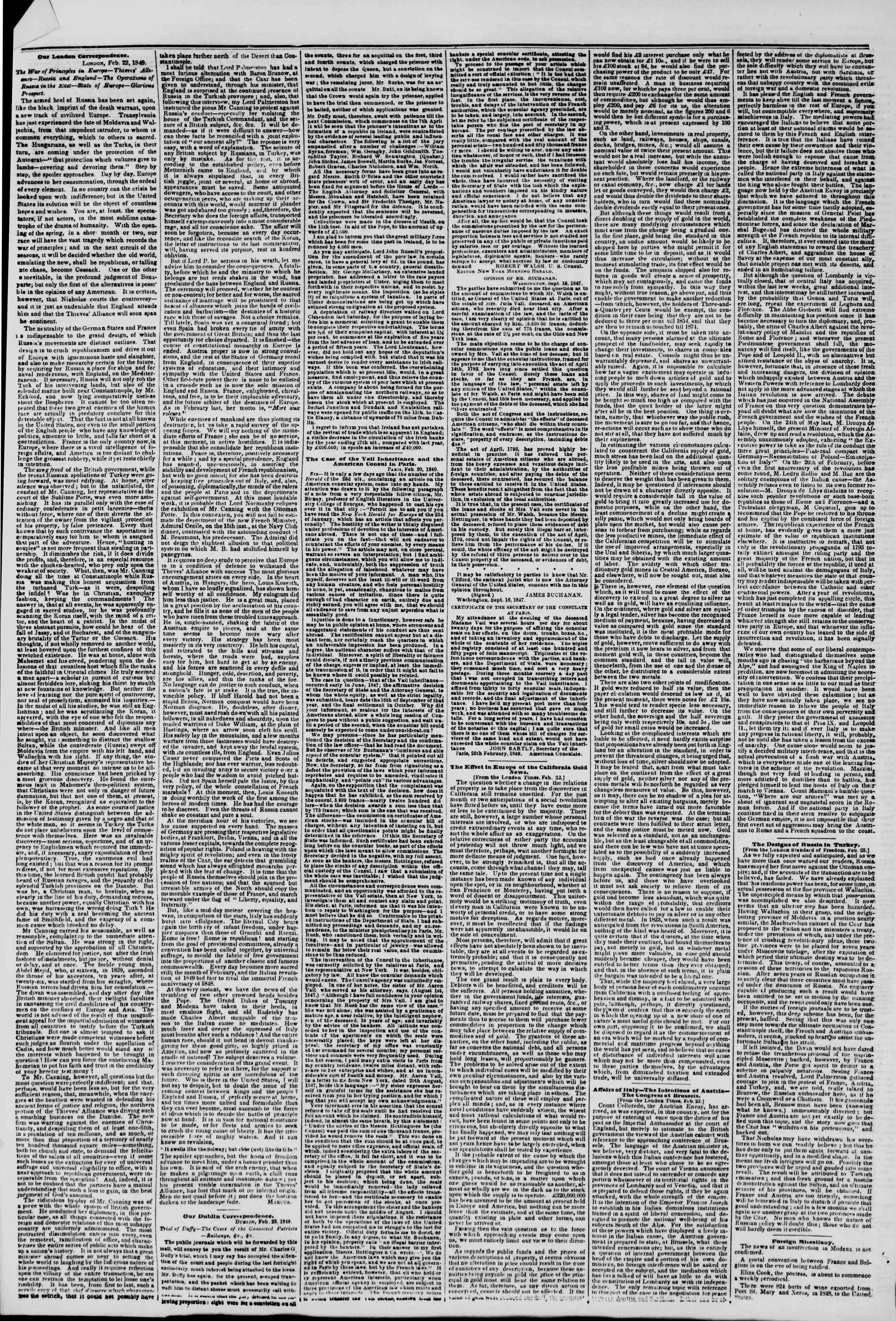 Newspaper of The New York Herald dated March 20, 1849 Page 6