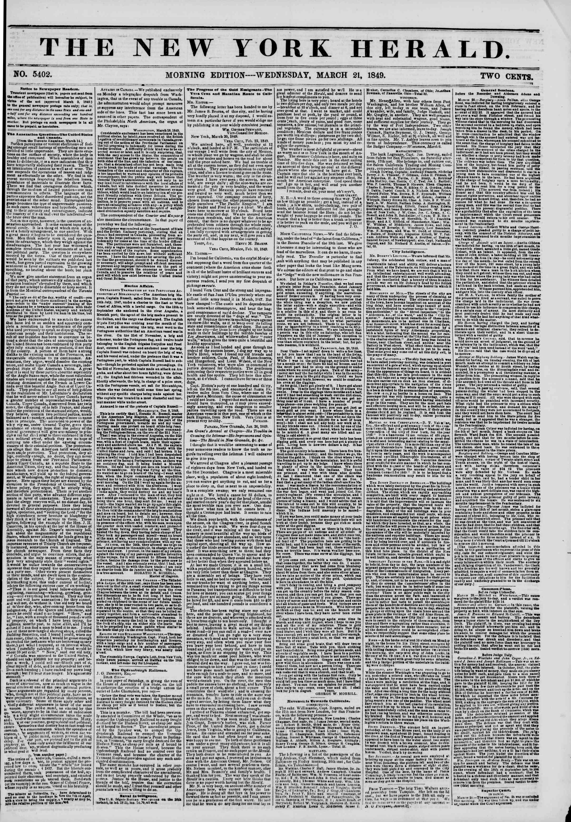 Newspaper of The New York Herald dated March 21, 1849 Page 1