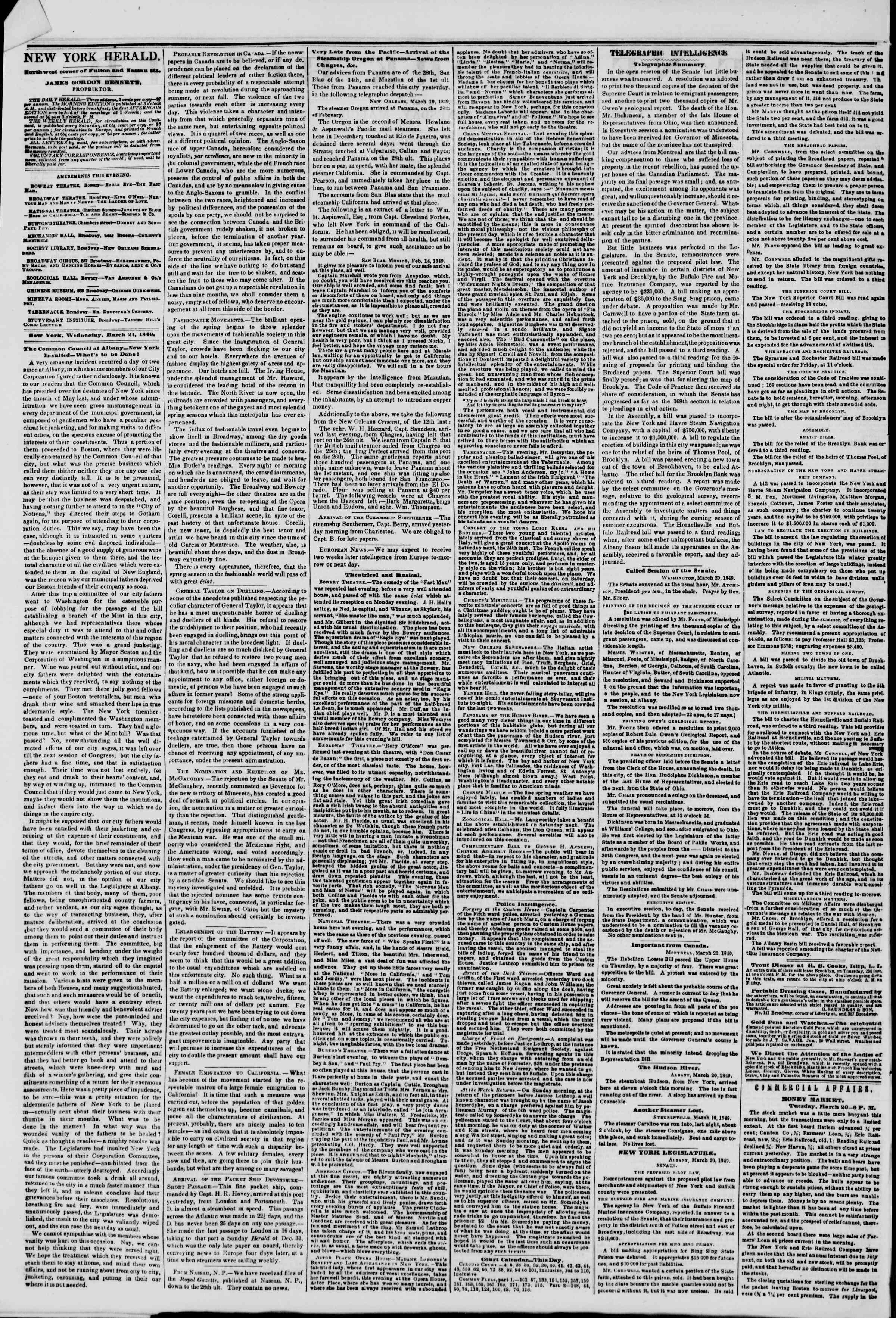 Newspaper of The New York Herald dated March 21, 1849 Page 2