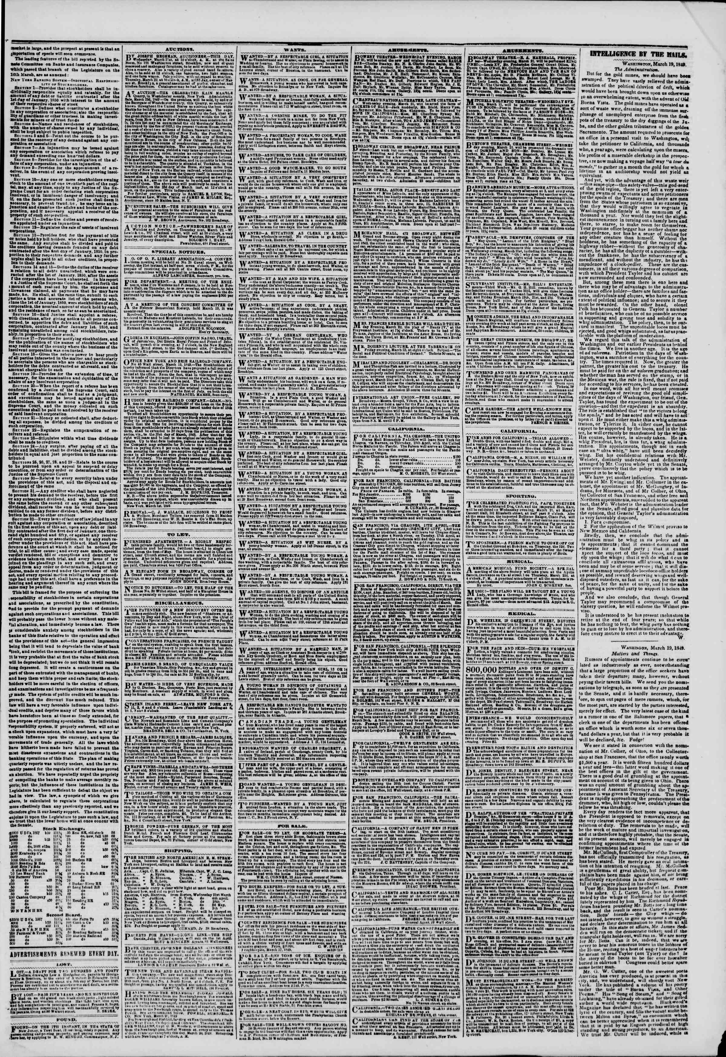 Newspaper of The New York Herald dated March 21, 1849 Page 3