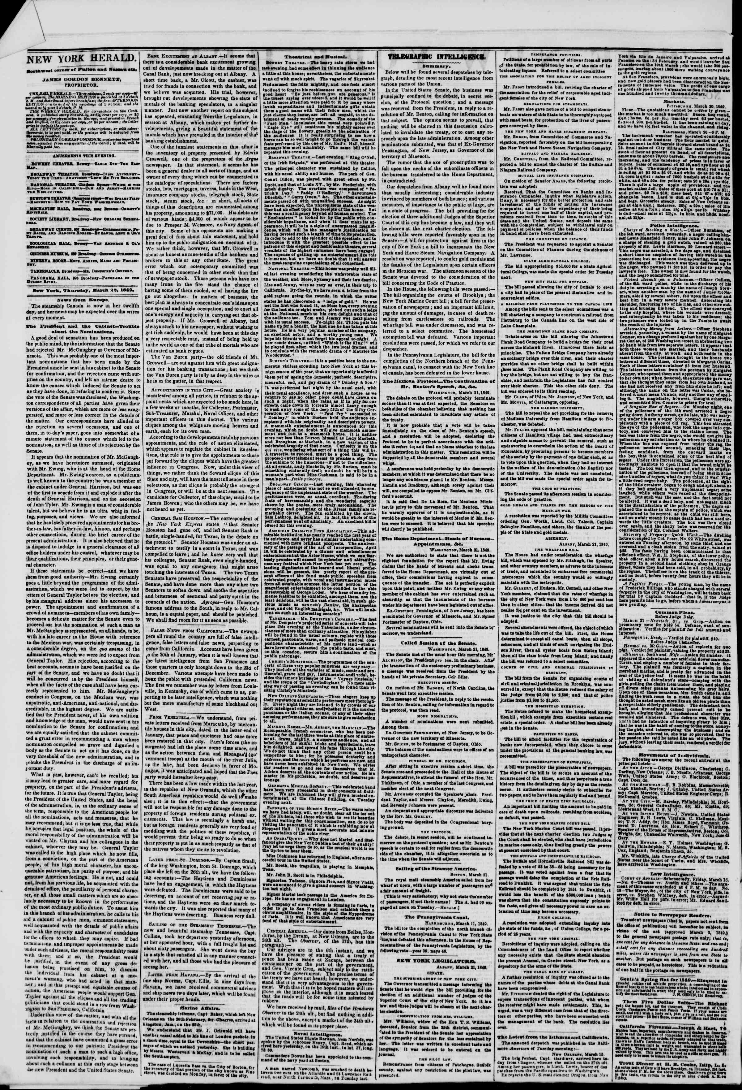 Newspaper of The New York Herald dated March 22, 1849 Page 2