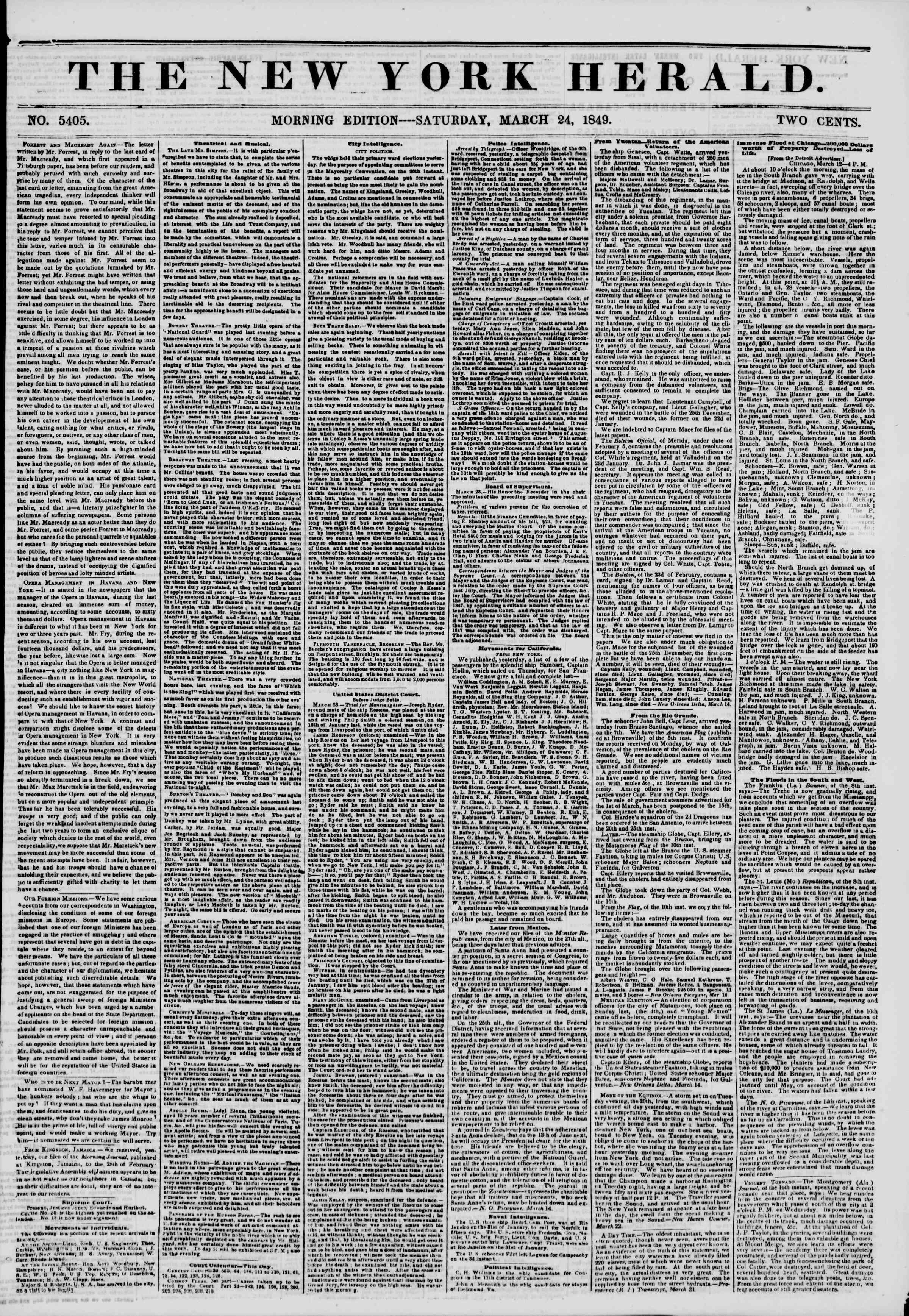 24 Mart 1849 tarihli The New York Herald Gazetesi Sayfa 1