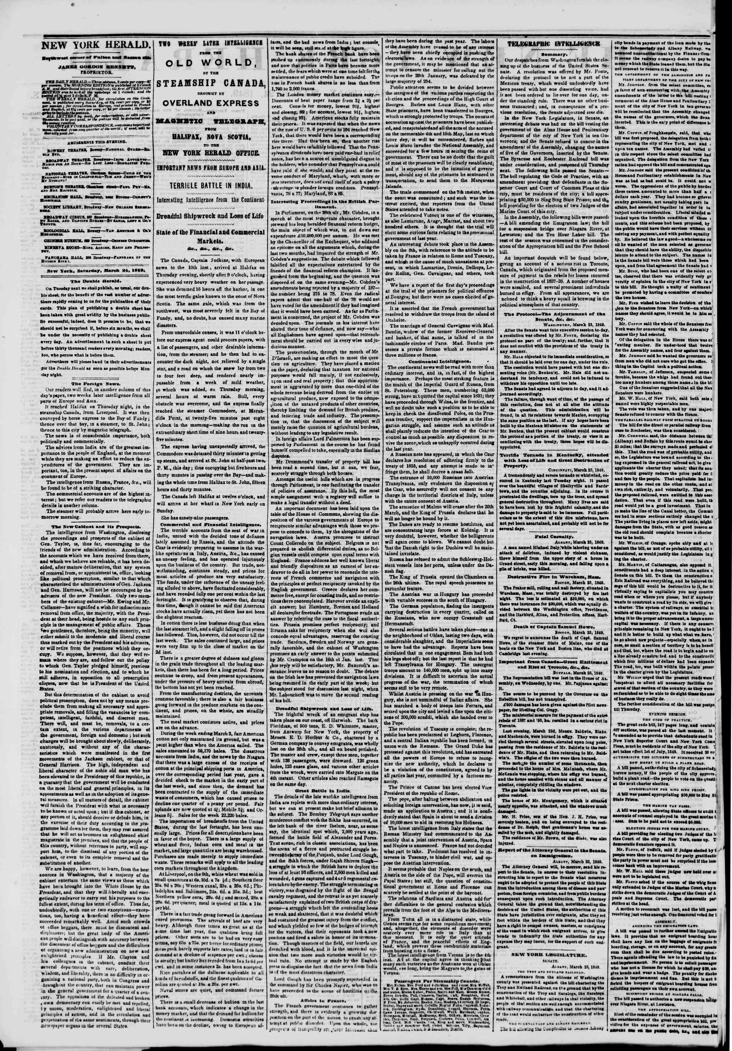 Newspaper of The New York Herald dated March 24, 1849 Page 2