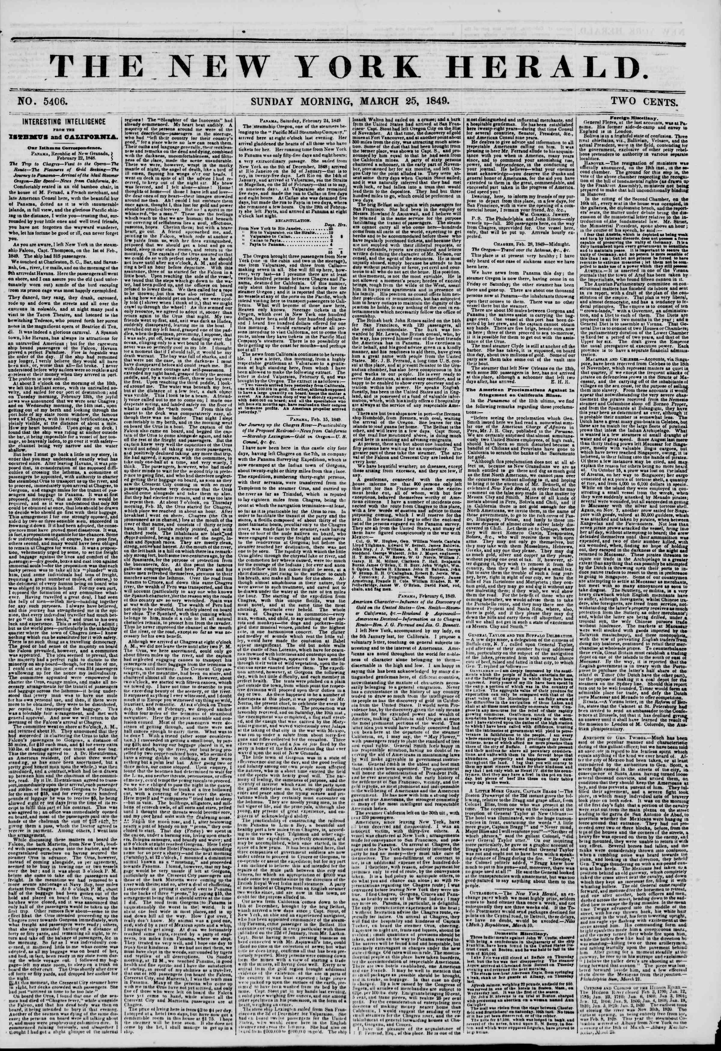 25 Mart 1849 tarihli The New York Herald Gazetesi Sayfa 1