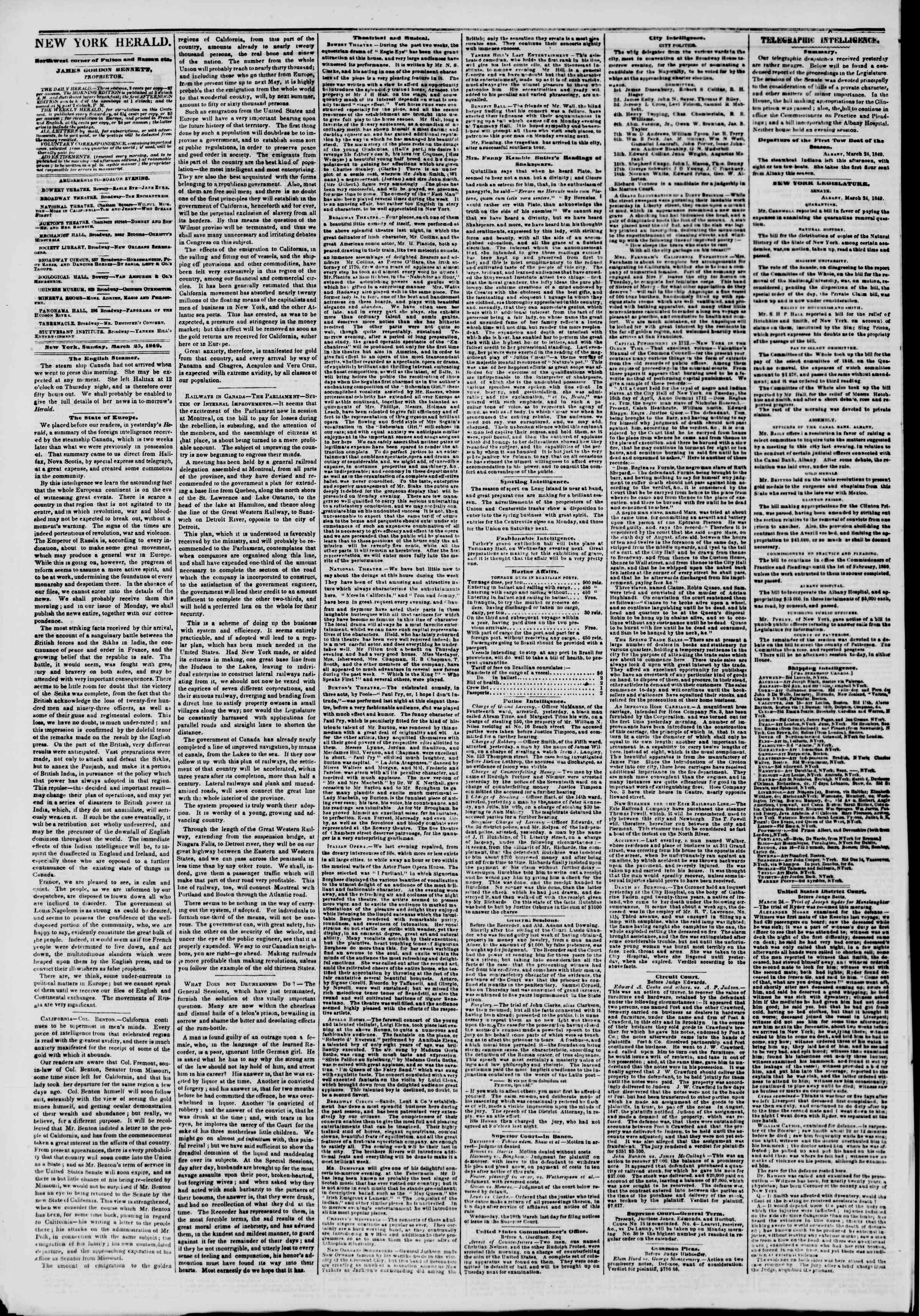 Newspaper of The New York Herald dated March 25, 1849 Page 2
