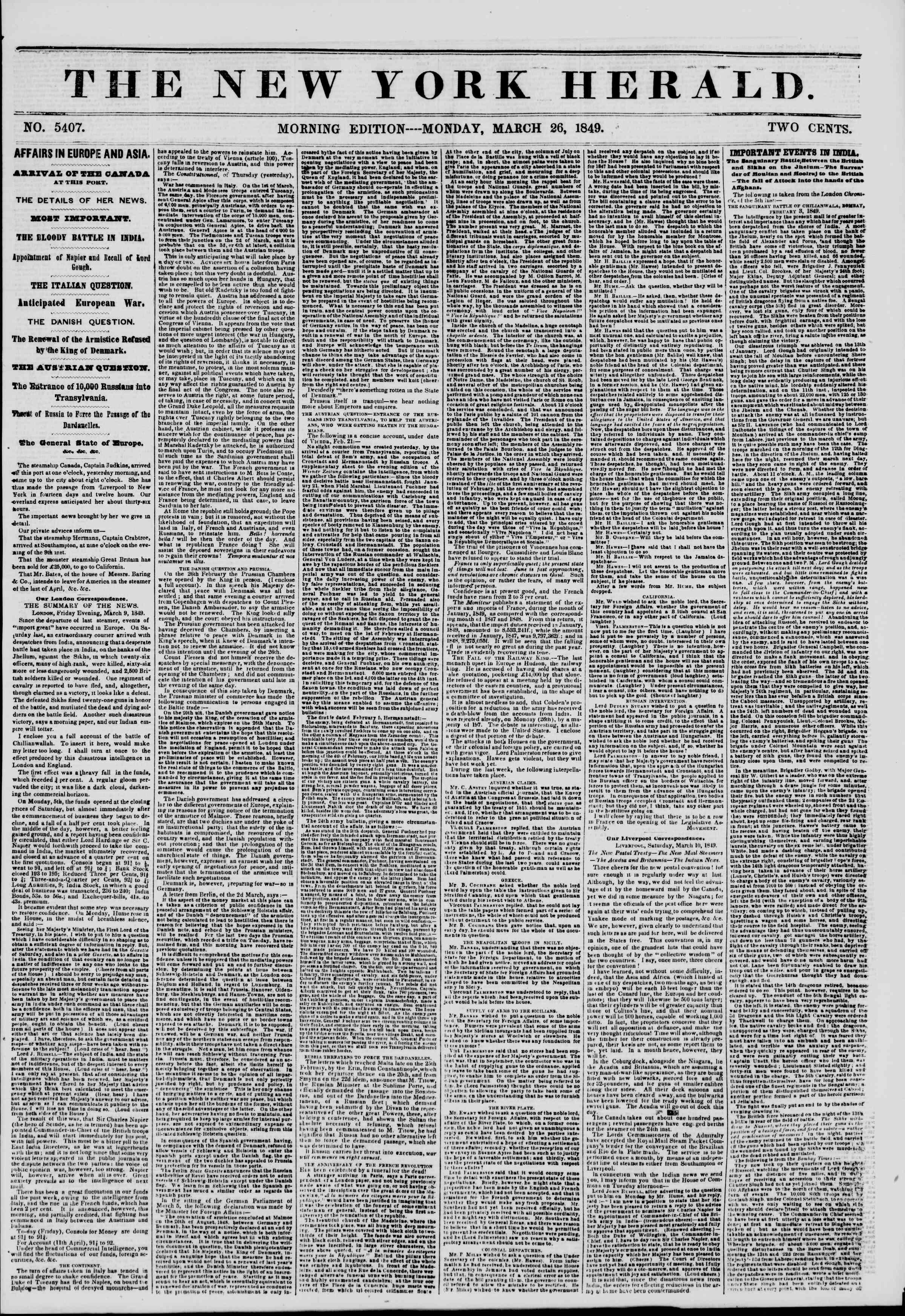 26 Mart 1849 tarihli The New York Herald Gazetesi Sayfa 1