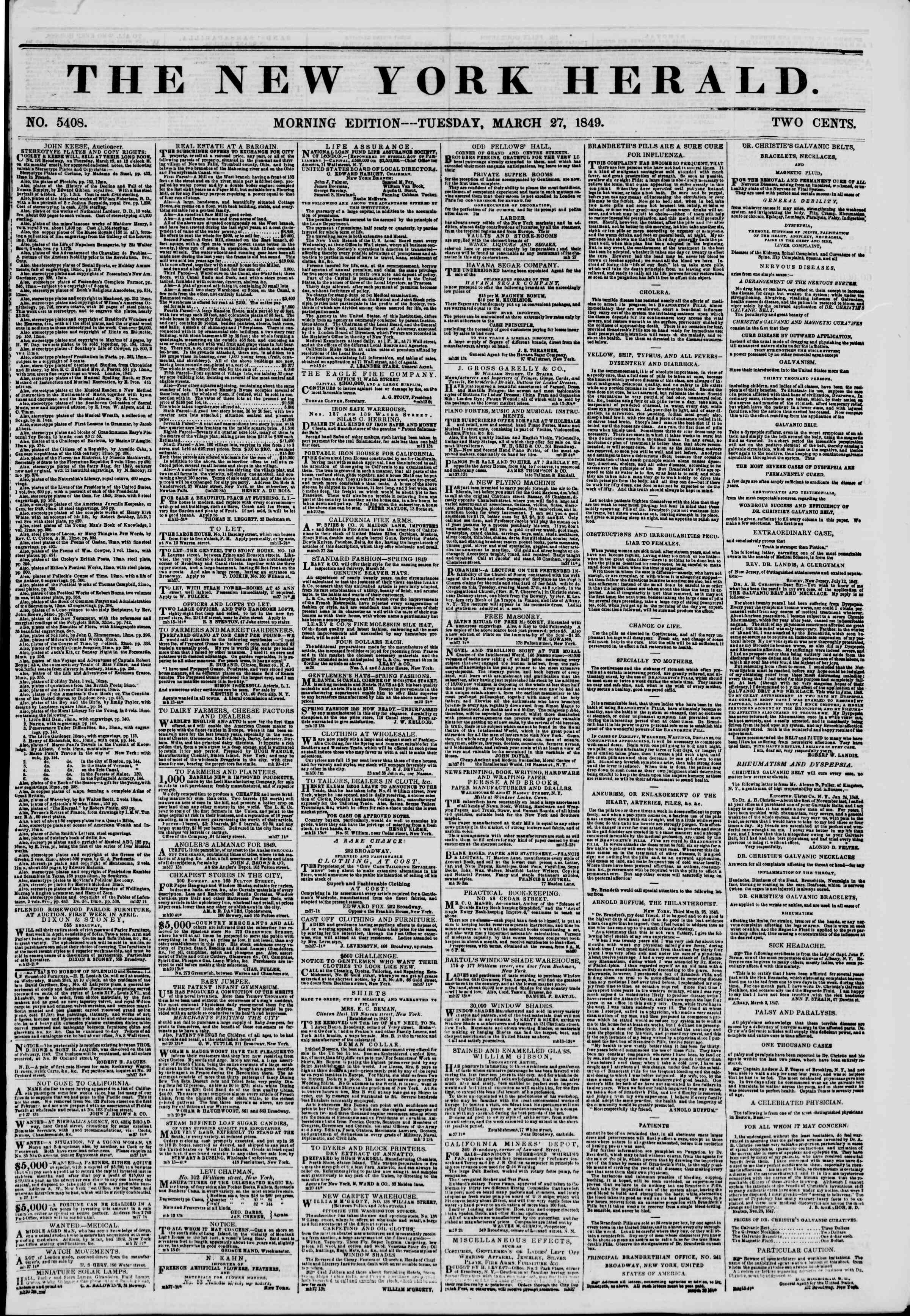 Newspaper of The New York Herald dated March 27, 1849 Page 1