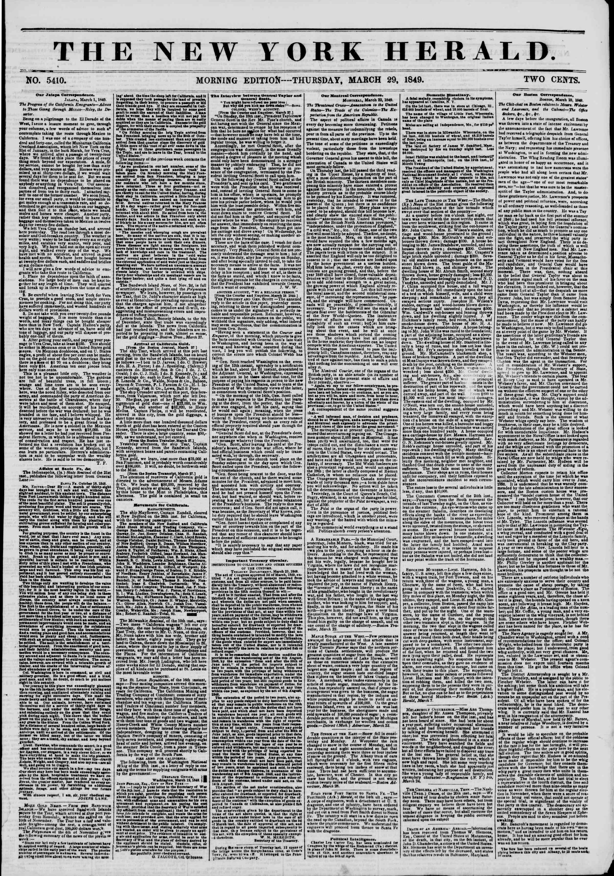 Newspaper of The New York Herald dated March 29, 1849 Page 1