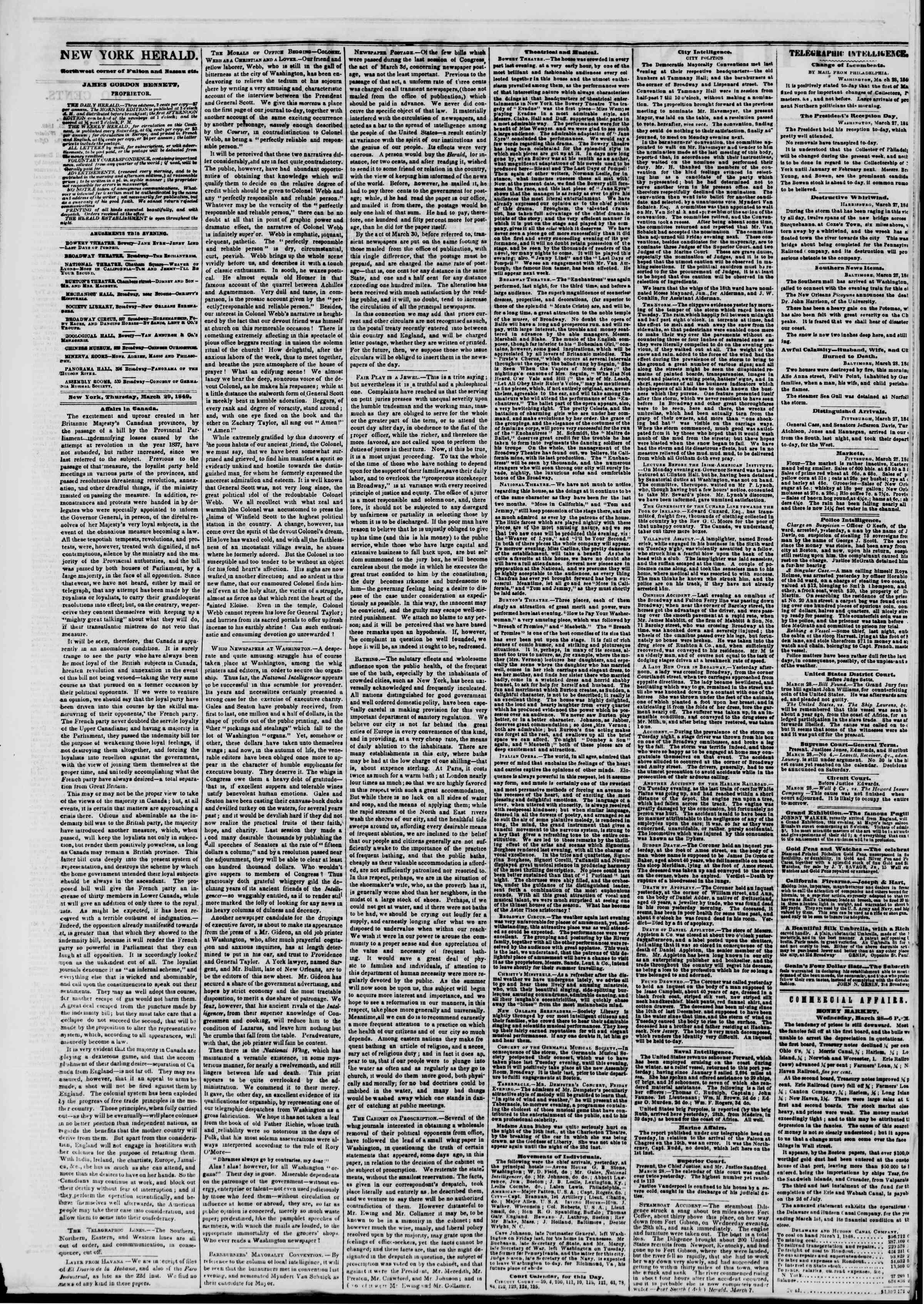 Newspaper of The New York Herald dated March 29, 1849 Page 2