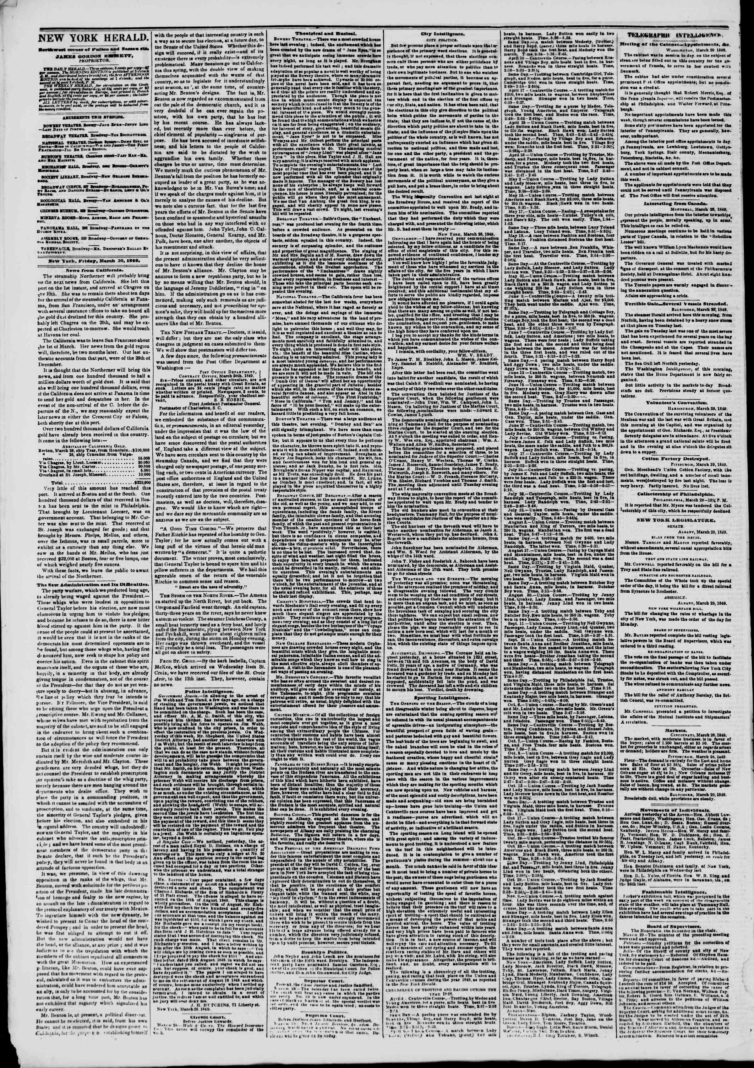 Newspaper of The New York Herald dated March 30, 1849 Page 2