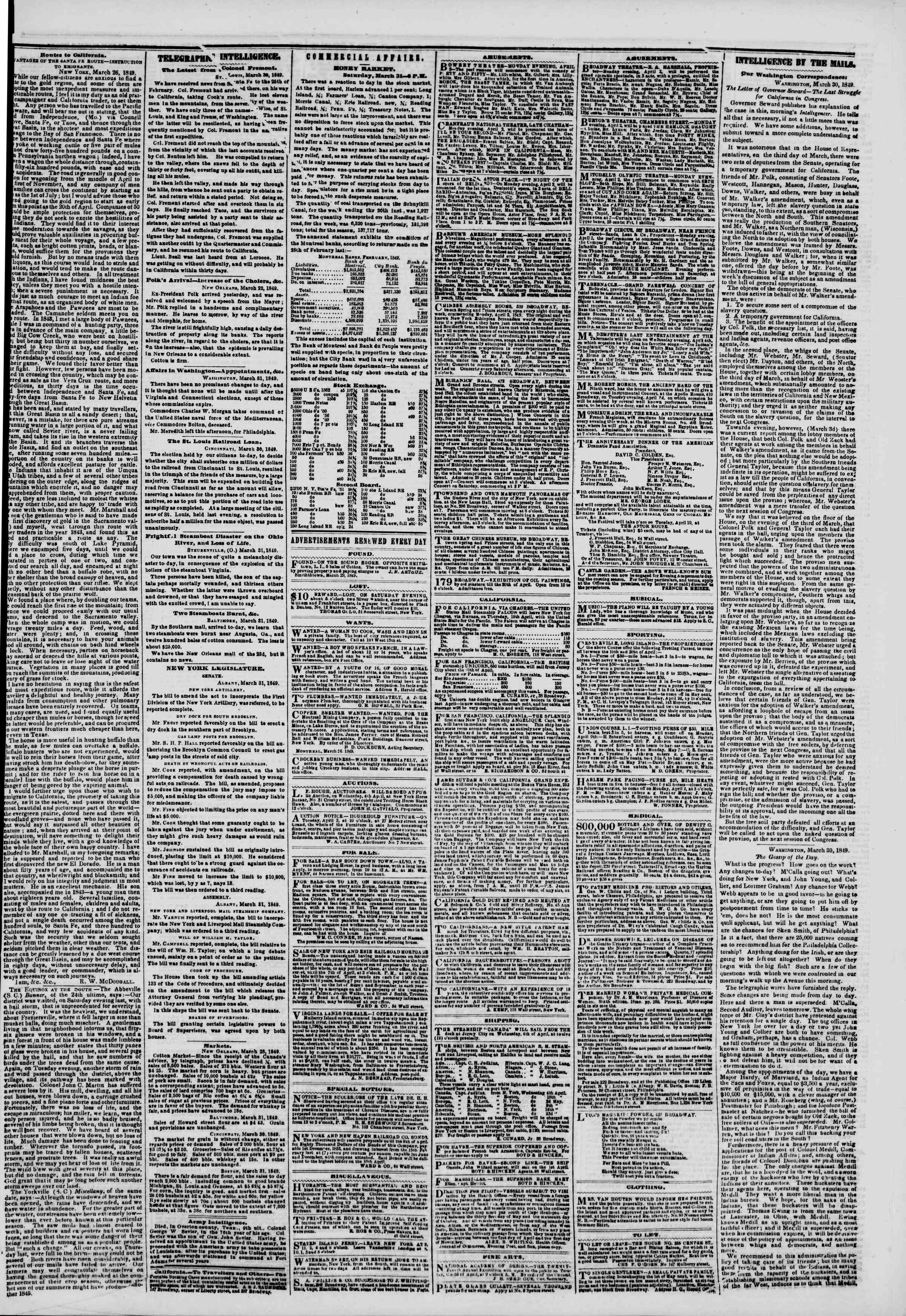Newspaper of The New York Herald dated April 1, 1849 Page 3