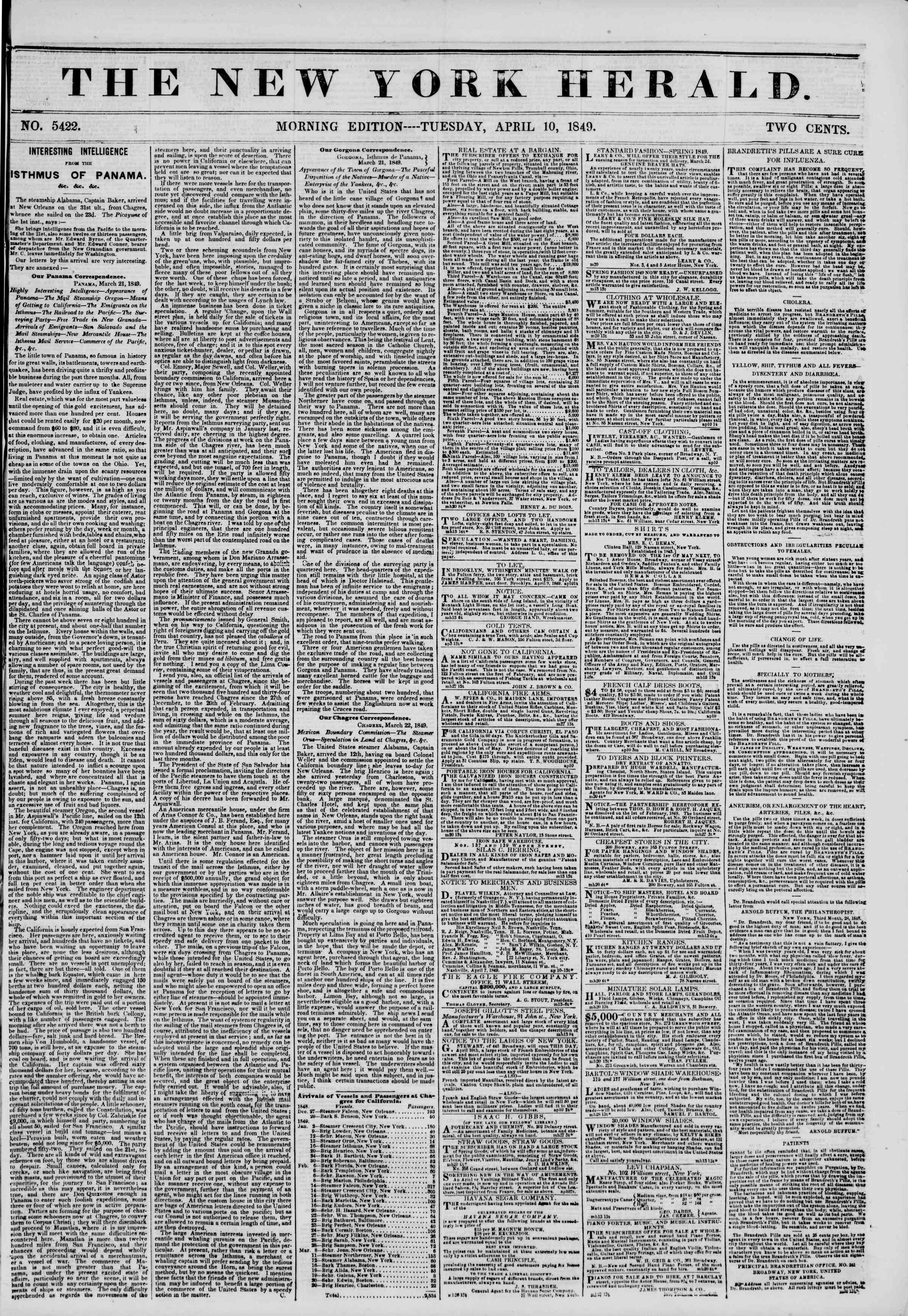 Newspaper of The New York Herald dated 10 Nisan 1849 Page 1