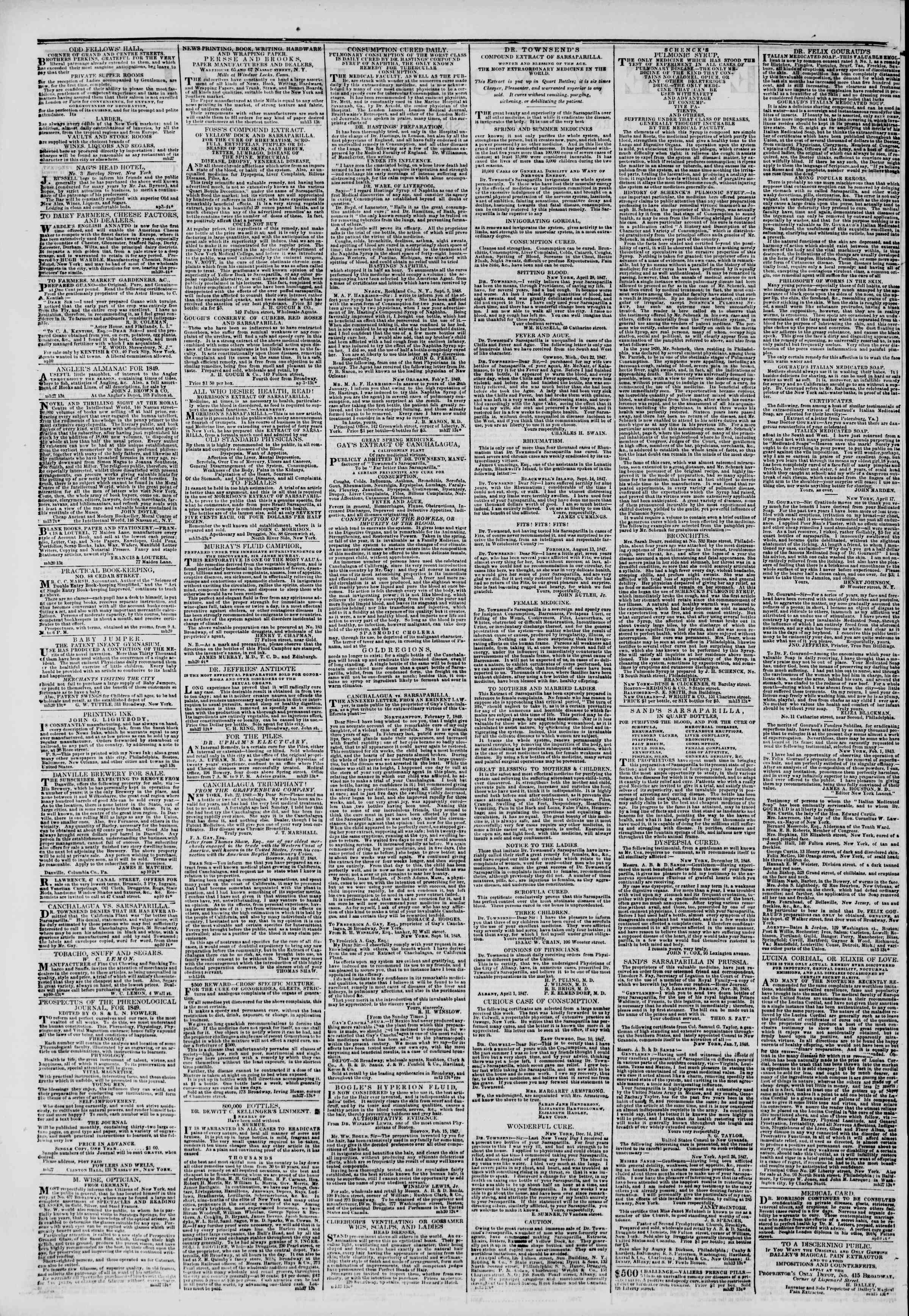 Newspaper of The New York Herald dated April 10, 1849 Page 2