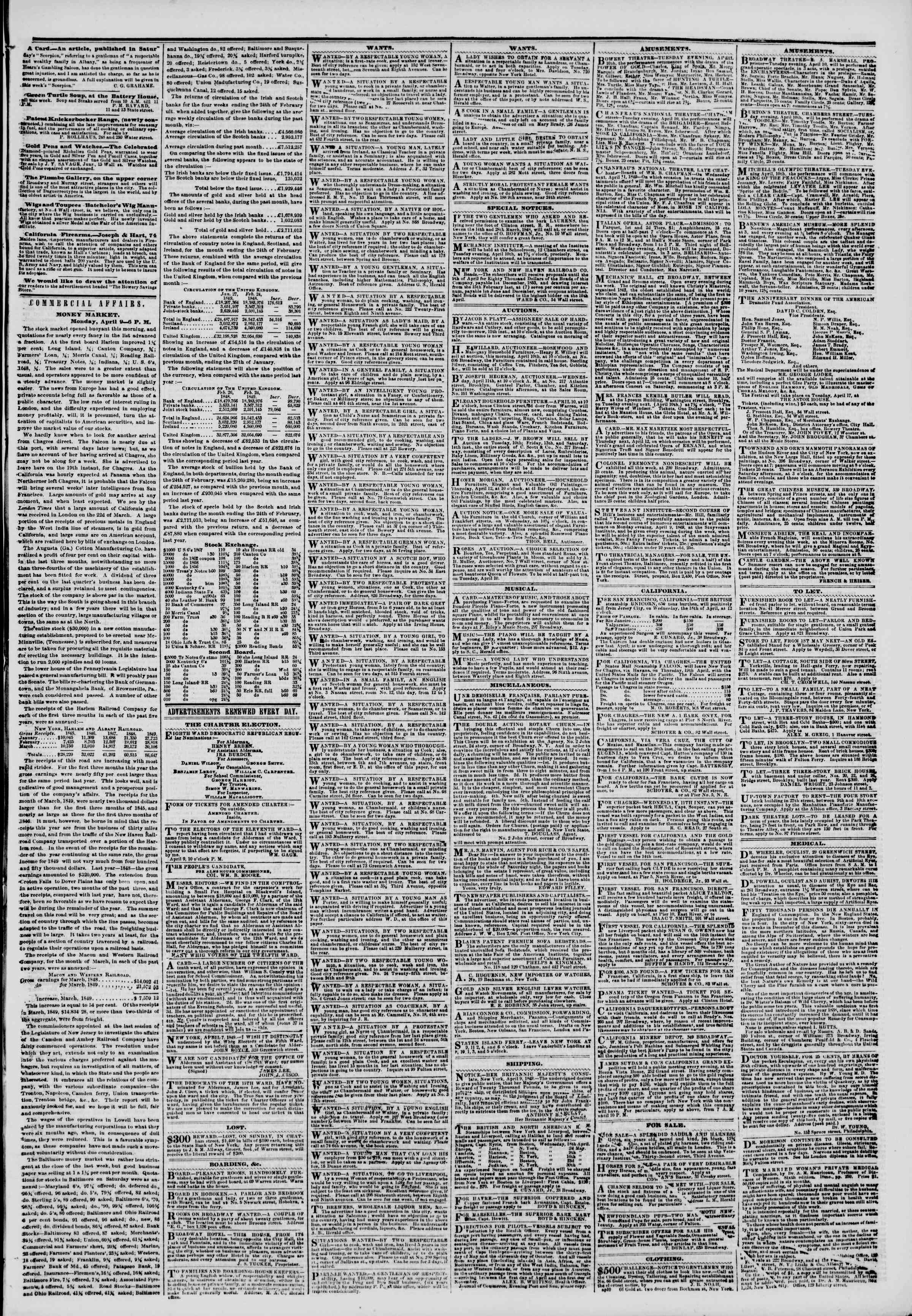 Newspaper of The New York Herald dated April 10, 1849 Page 5