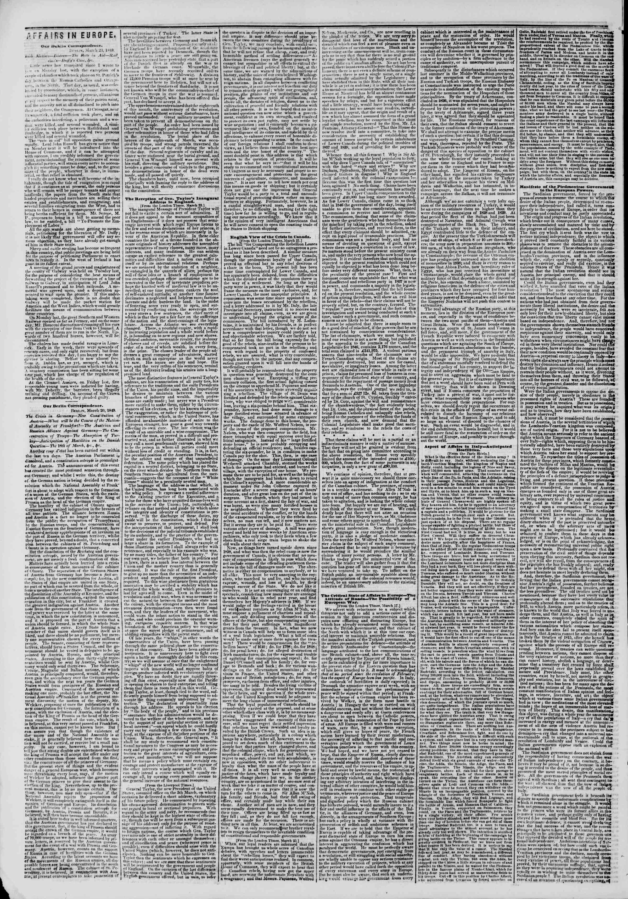 Newspaper of The New York Herald dated April 10, 1849 Page 6