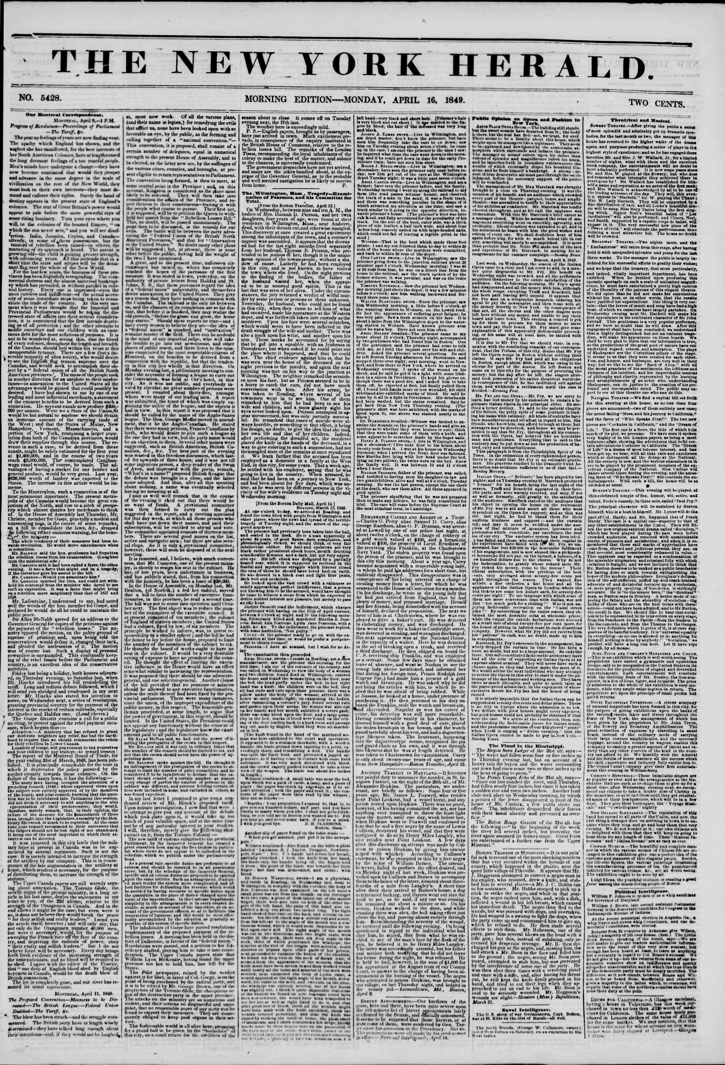 Newspaper of The New York Herald dated April 16, 1849 Page 1