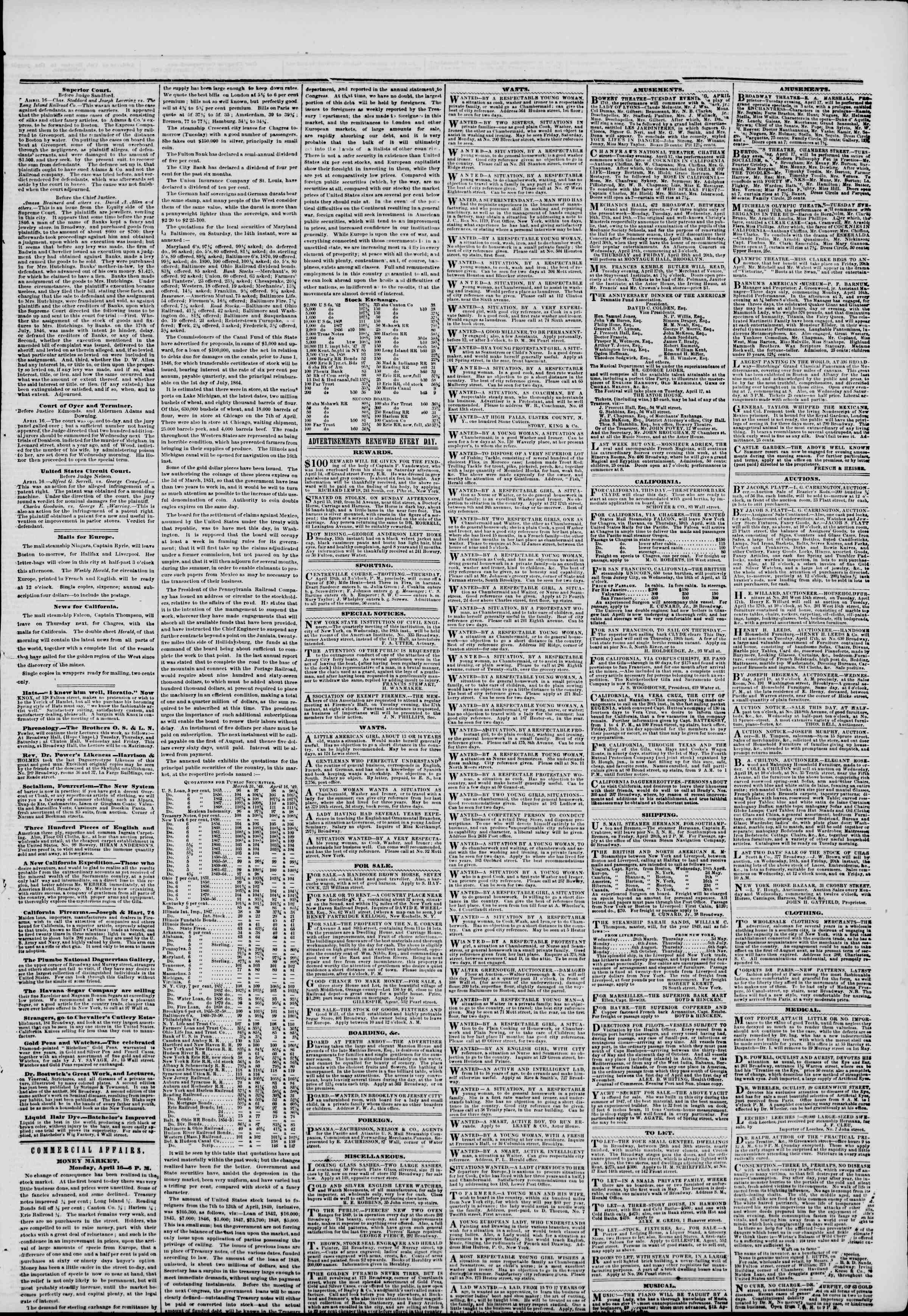 Newspaper of The New York Herald dated April 17, 1849 Page 5