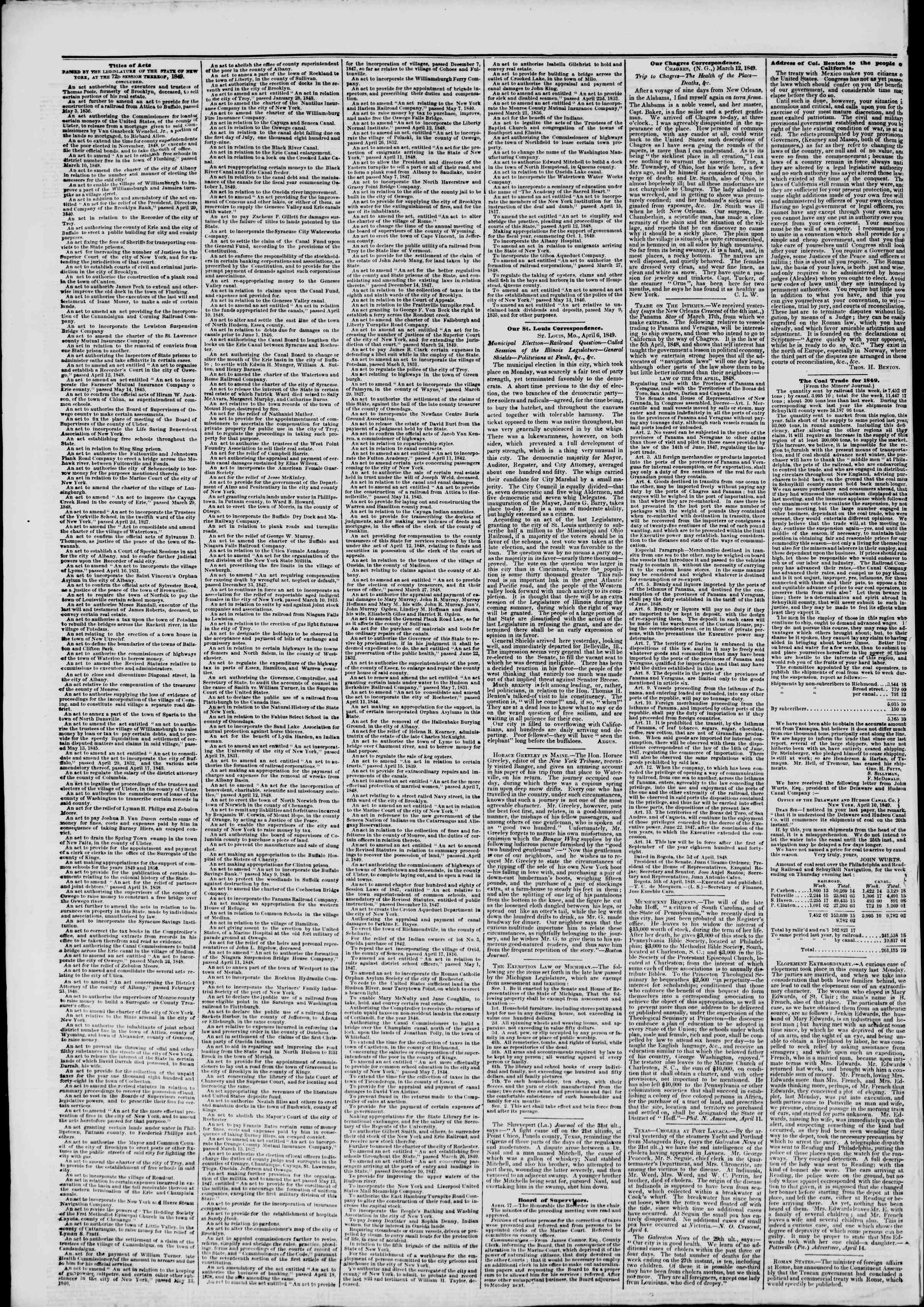 Newspaper of The New York Herald dated April 17, 1849 Page 6