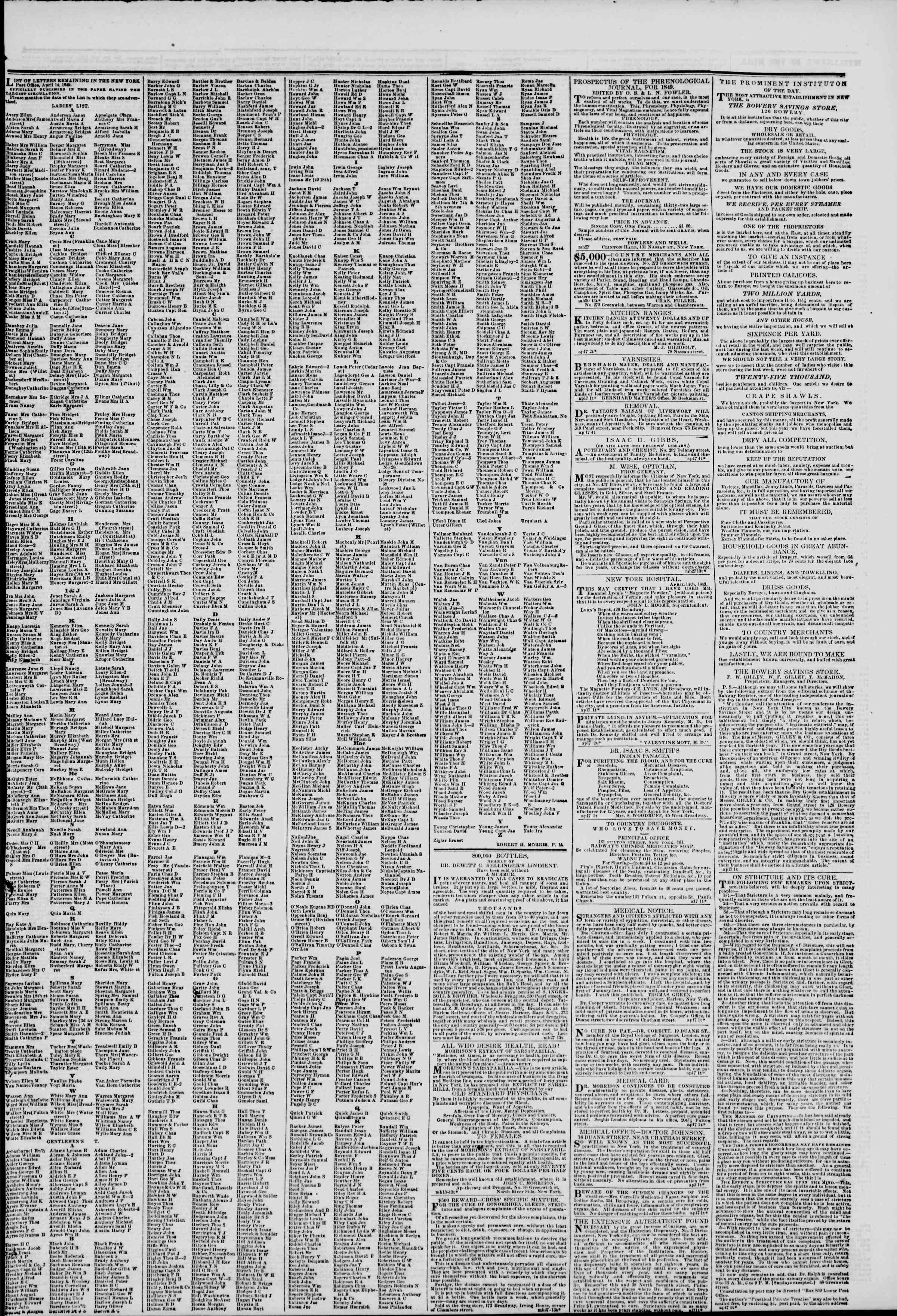 Newspaper of The New York Herald dated April 17, 1849 Page 7