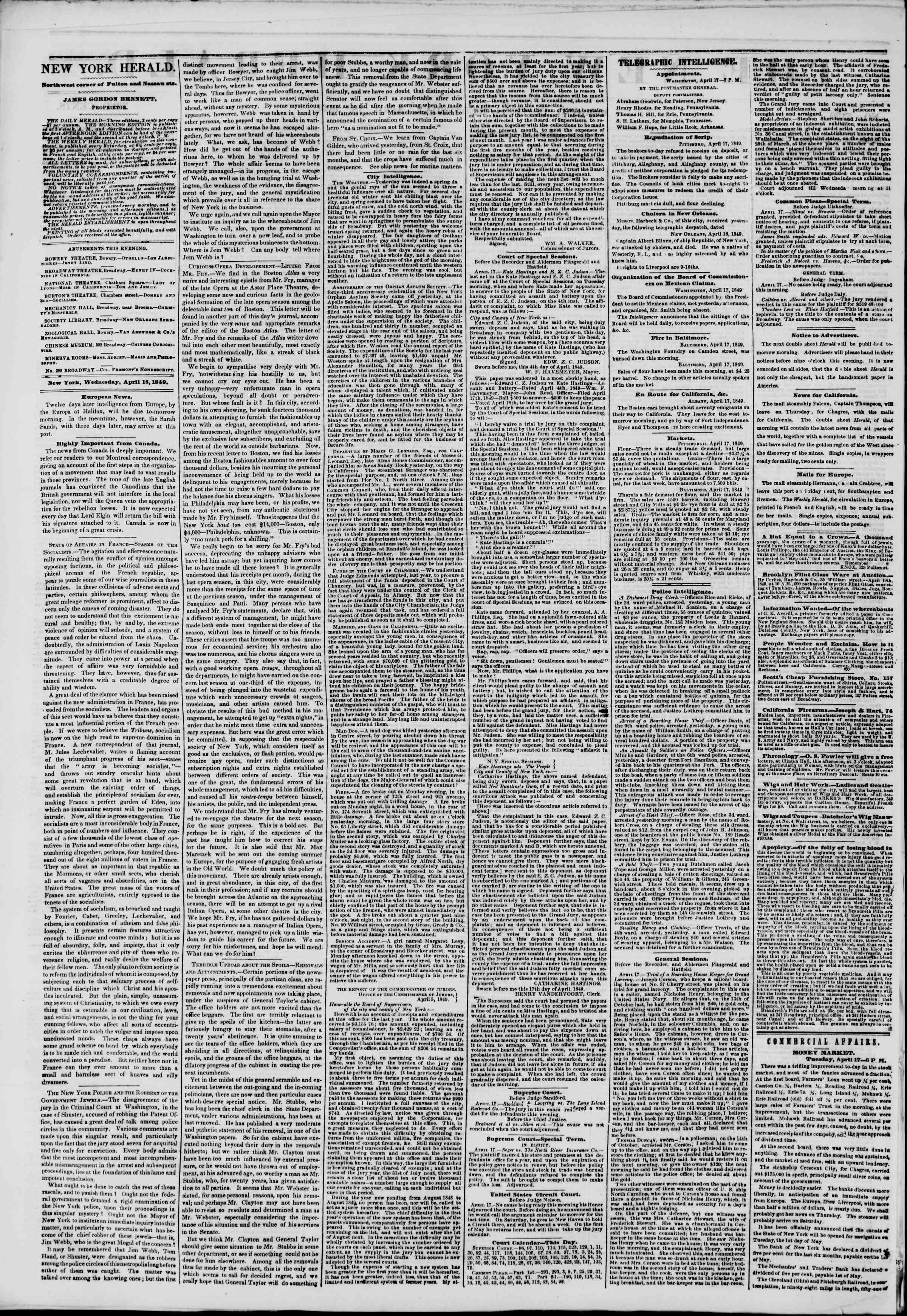 Newspaper of The New York Herald dated April 18, 1849 Page 2
