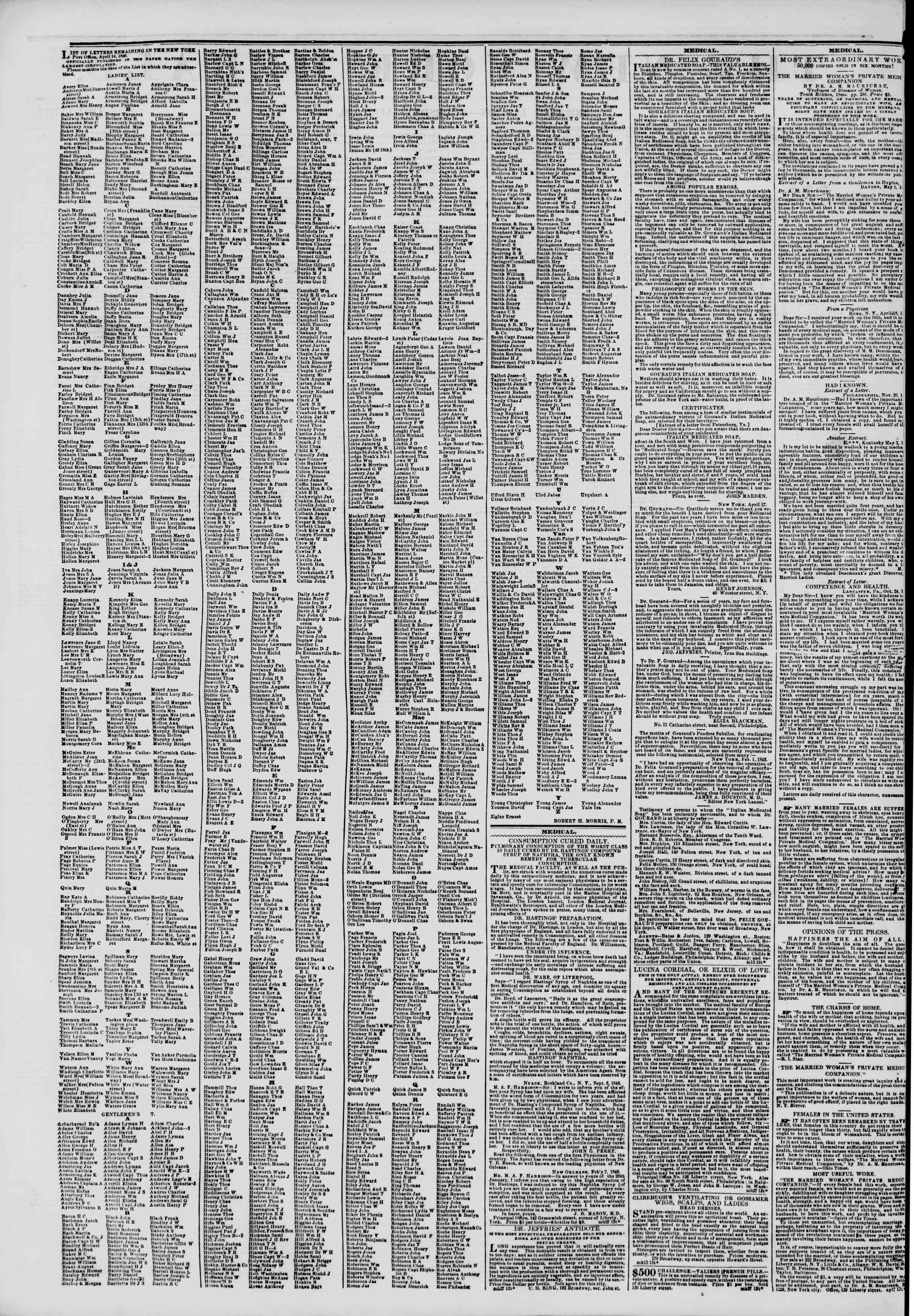 Newspaper of The New York Herald dated April 19, 1849 Page 2