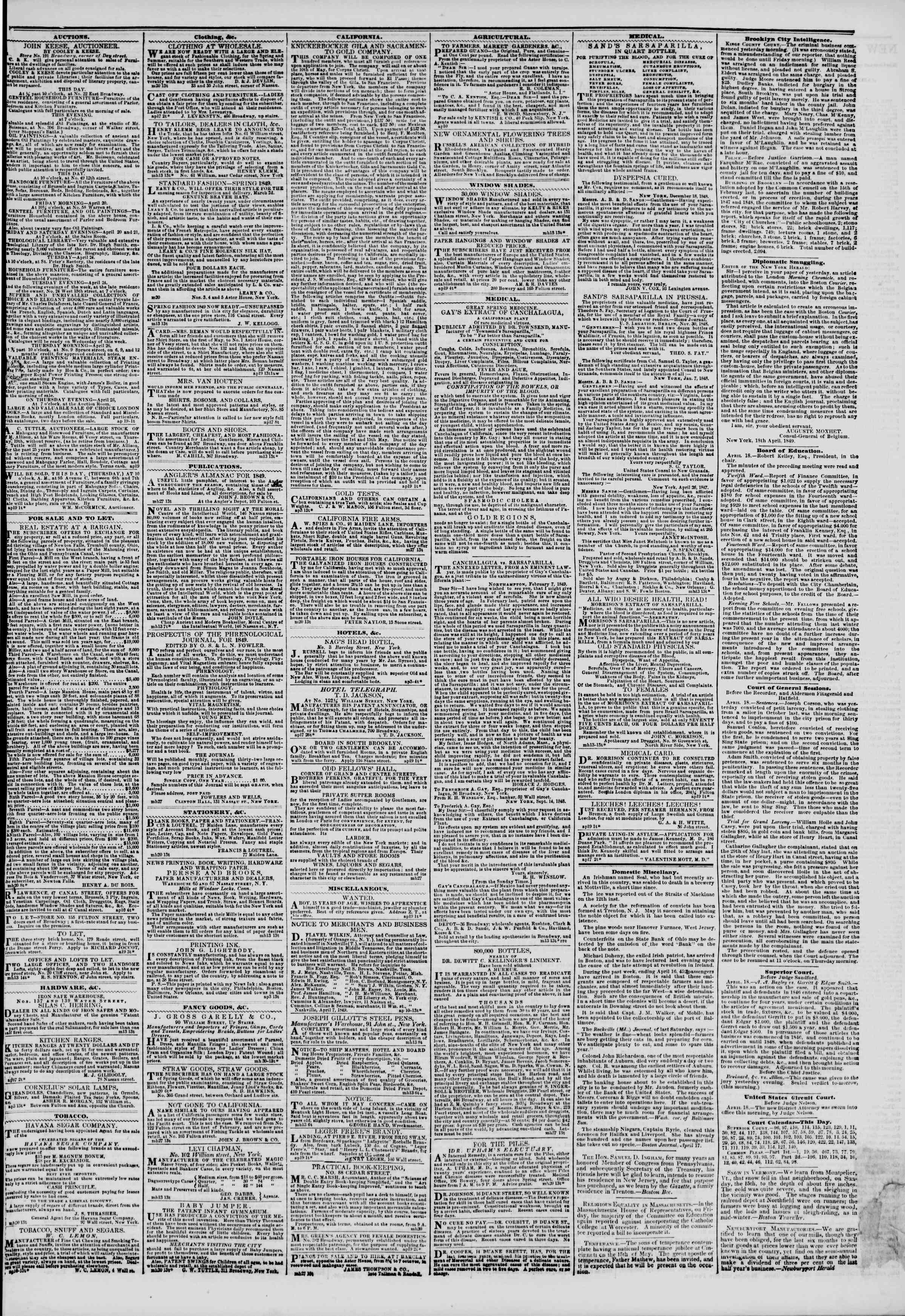 Newspaper of The New York Herald dated April 19, 1849 Page 3