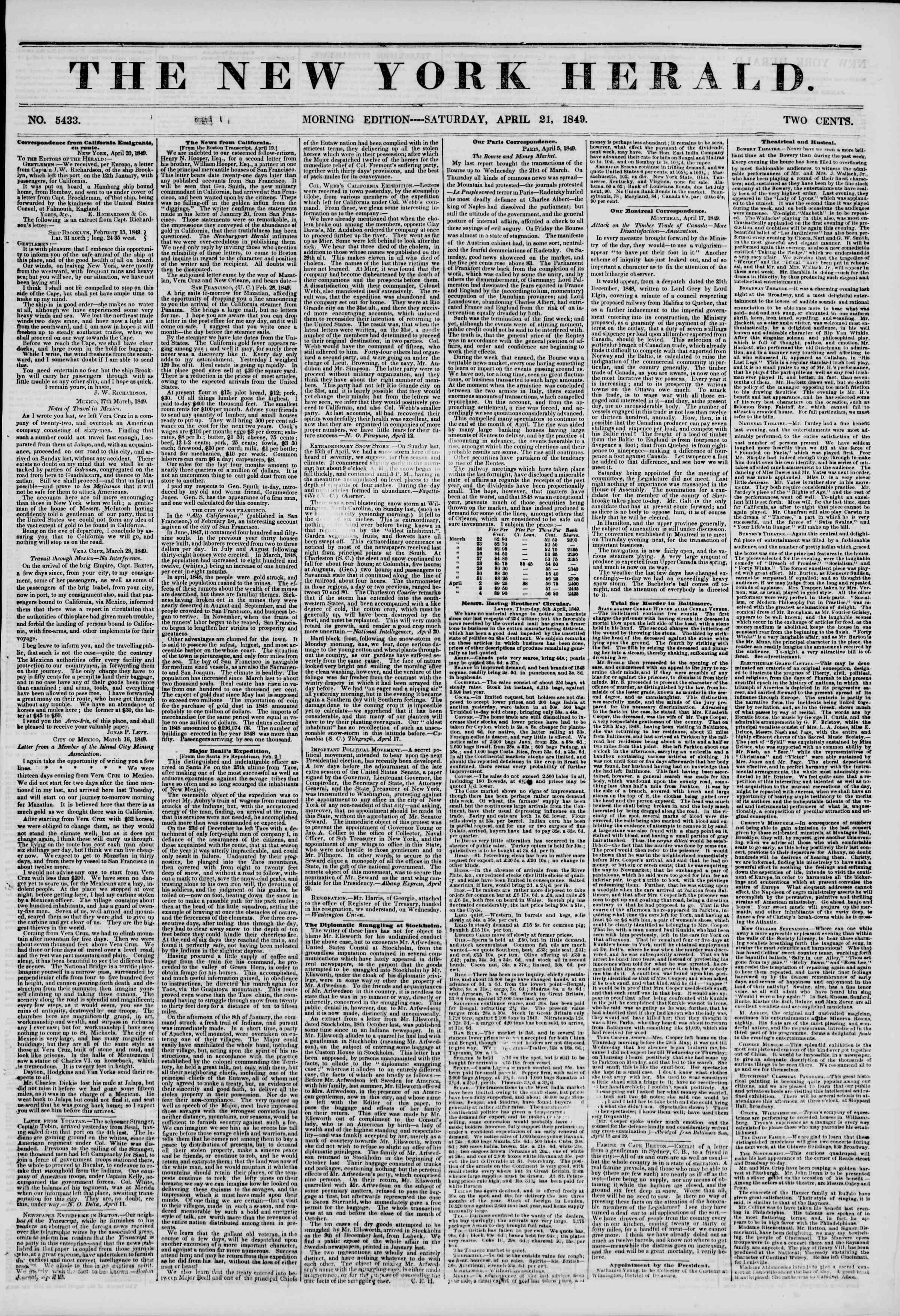 Newspaper of The New York Herald dated April 21, 1849 Page 1