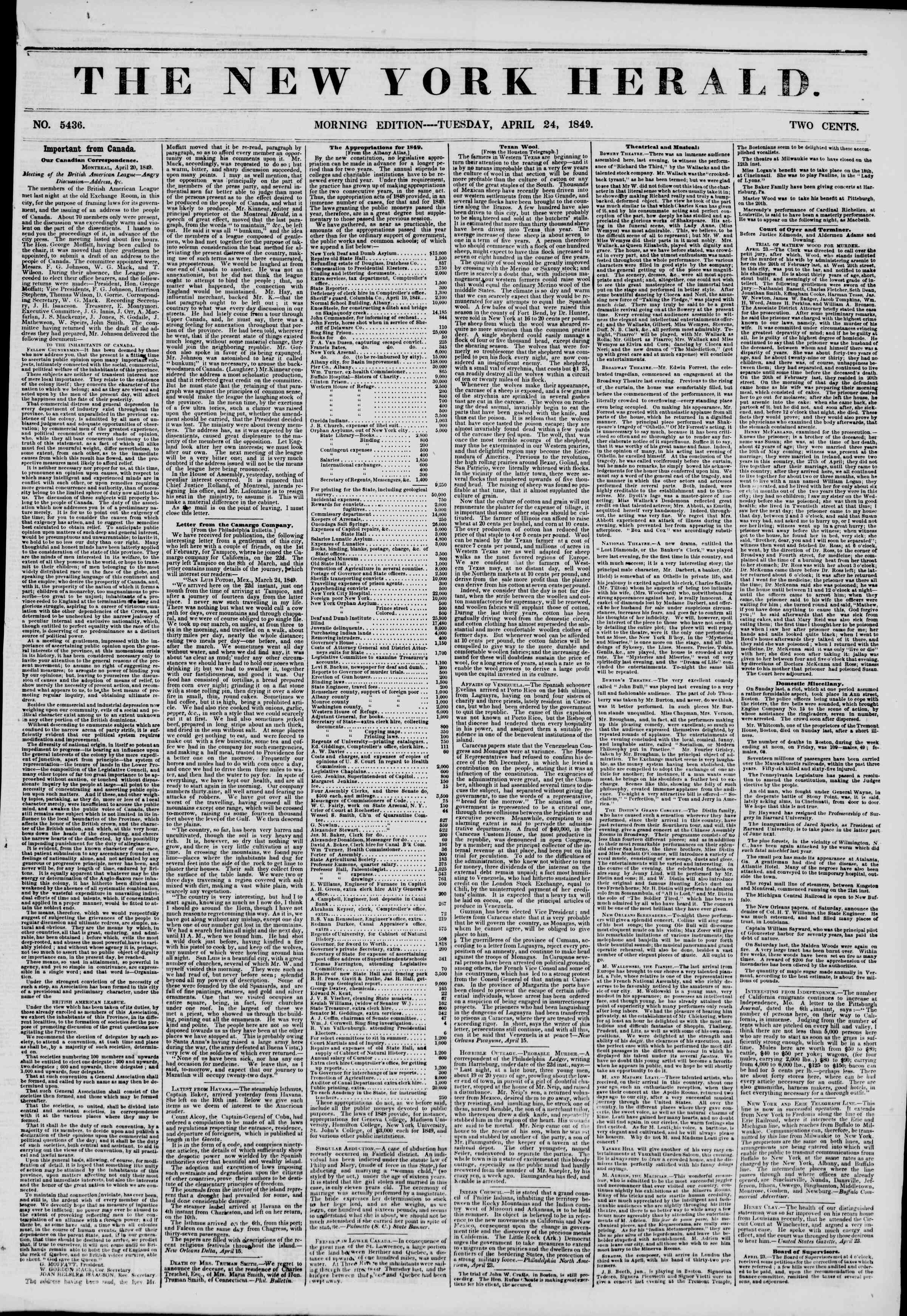Newspaper of The New York Herald dated April 24, 1849 Page 1