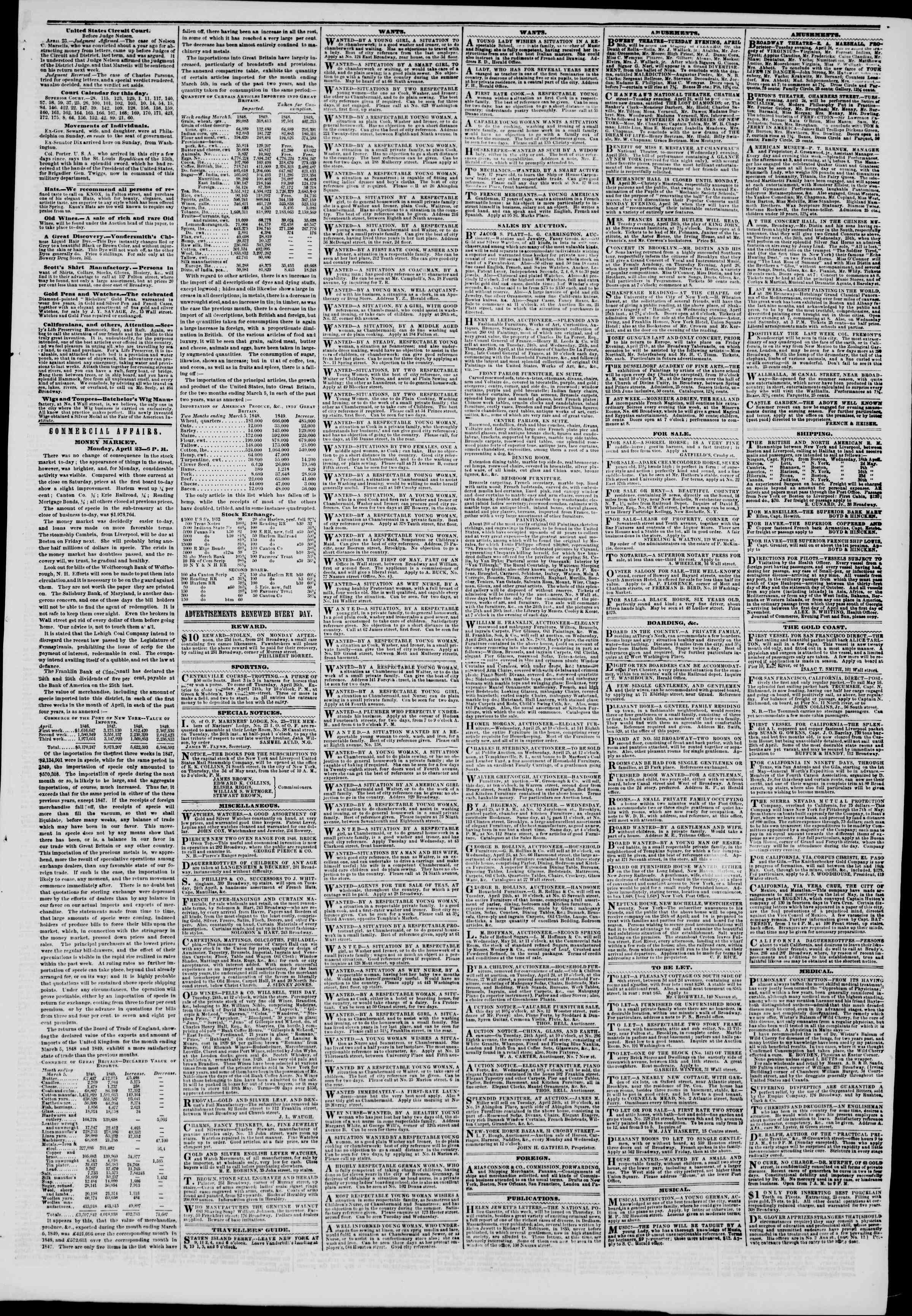 Newspaper of The New York Herald dated April 24, 1849 Page 5