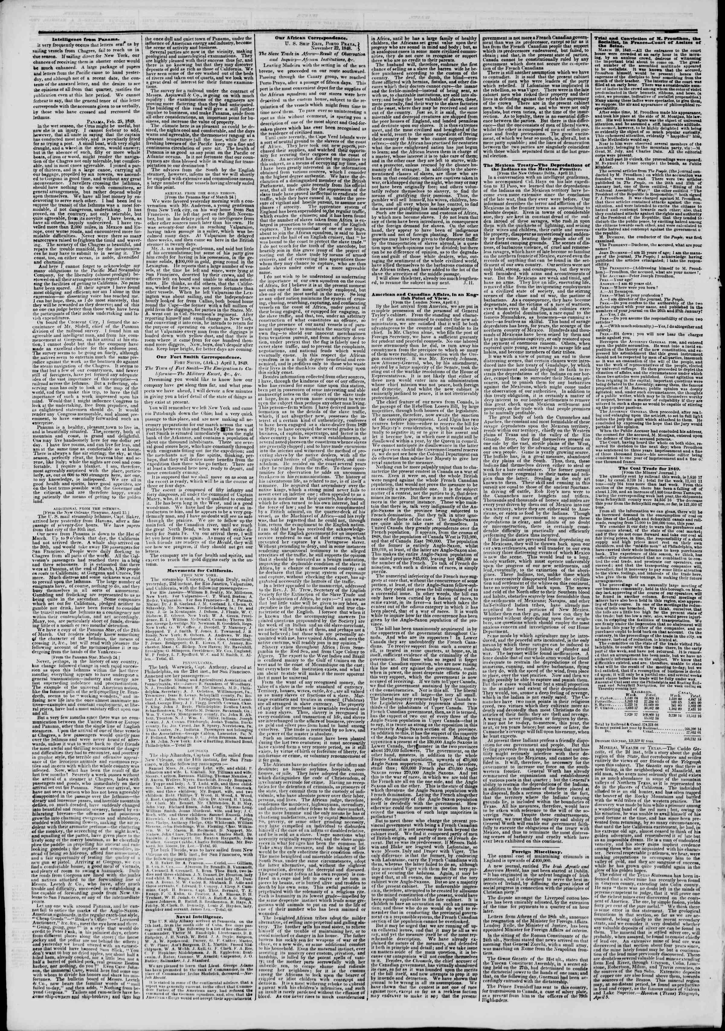 Newspaper of The New York Herald dated April 24, 1849 Page 6