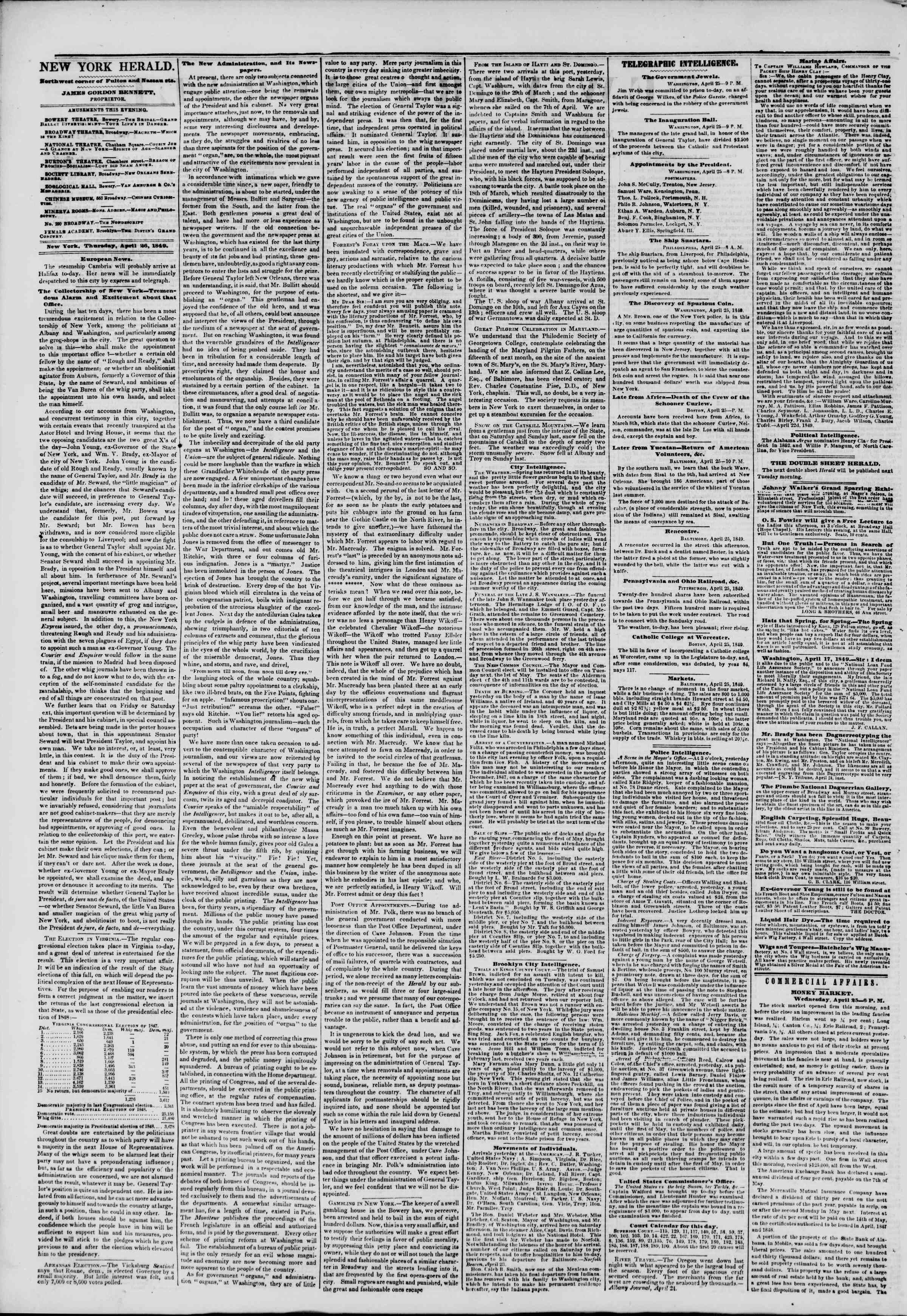 Newspaper of The New York Herald dated April 26, 1849 Page 2