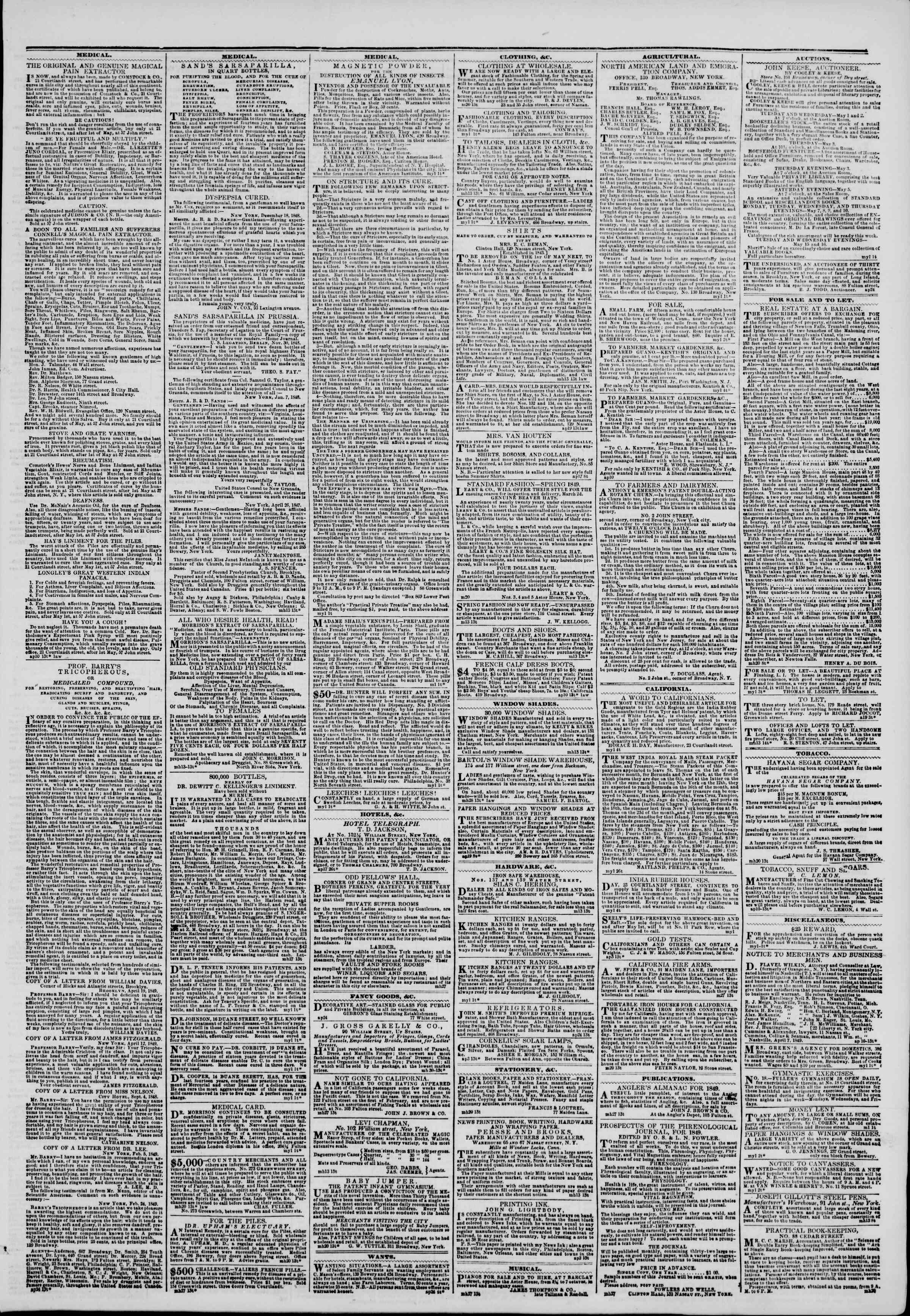 1 Mayıs 1849 tarihli The New York Herald Gazetesi Sayfa 3