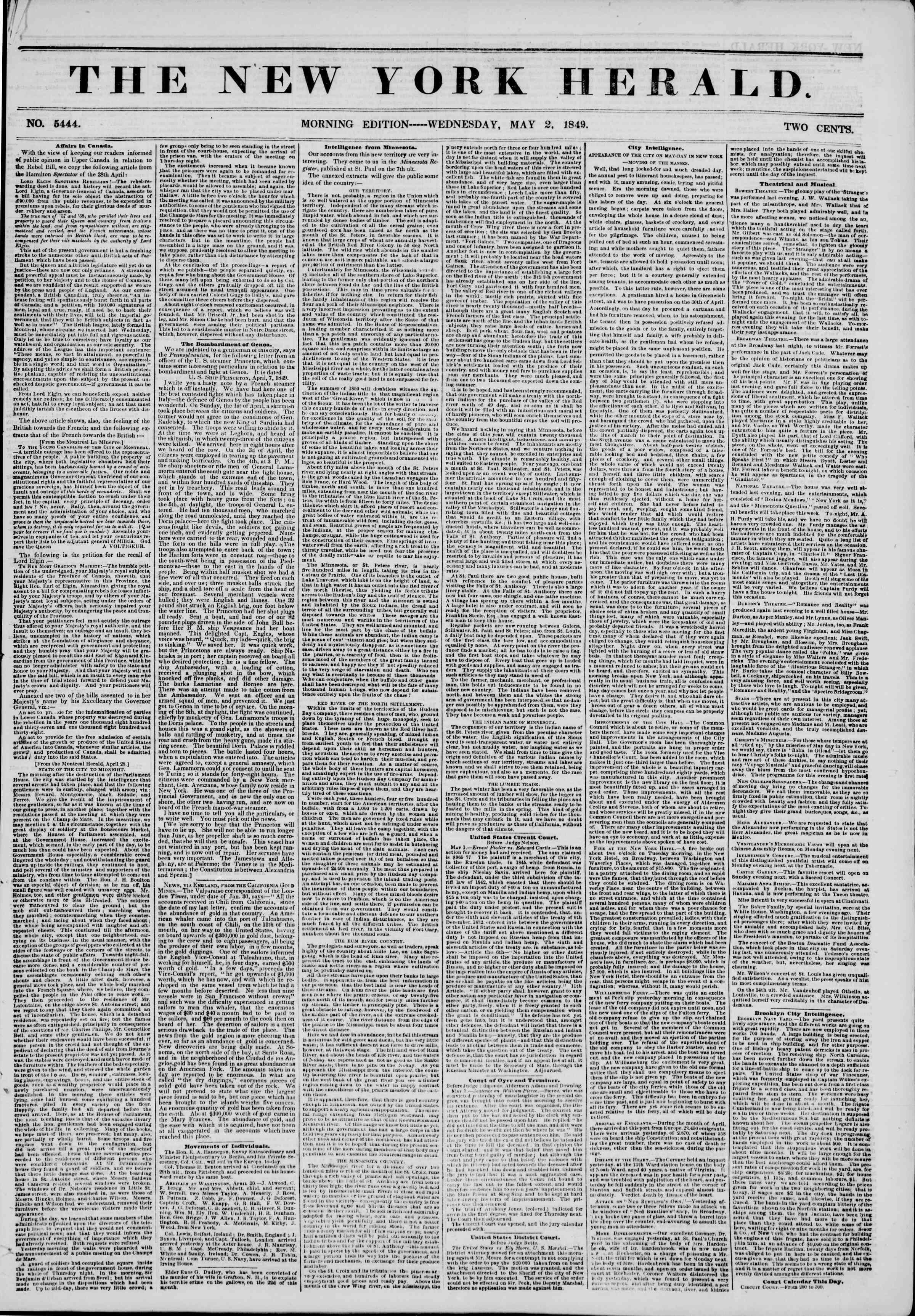 Newspaper of The New York Herald dated May 2, 1849 Page 1