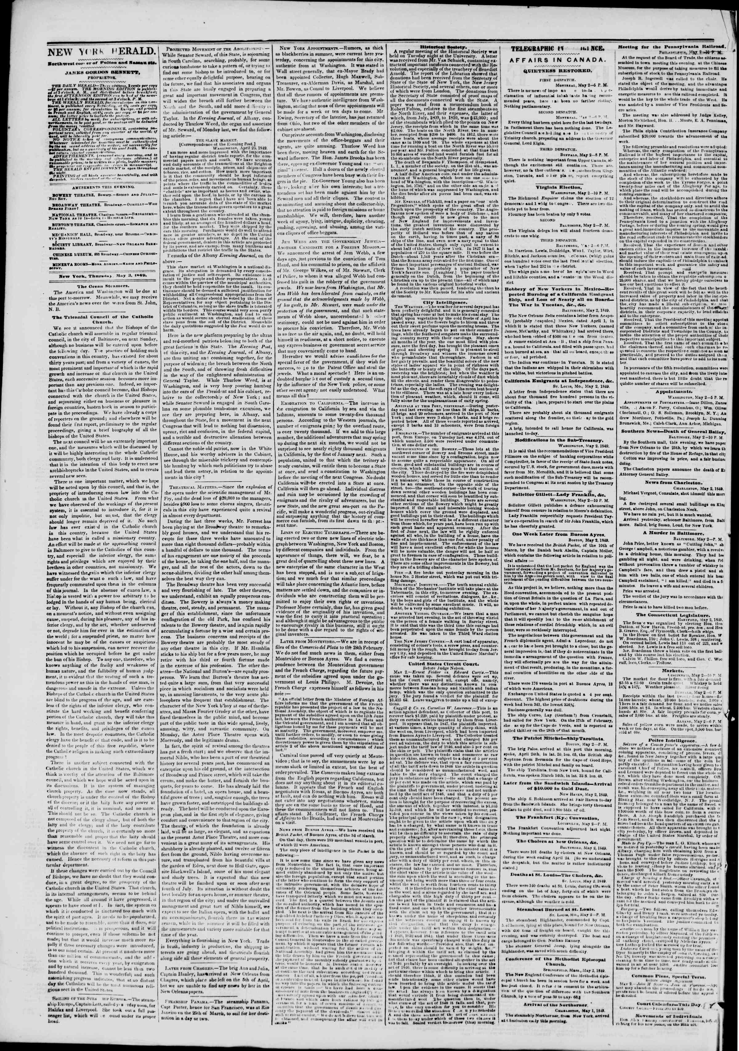 Newspaper of The New York Herald dated May 3, 1849 Page 2