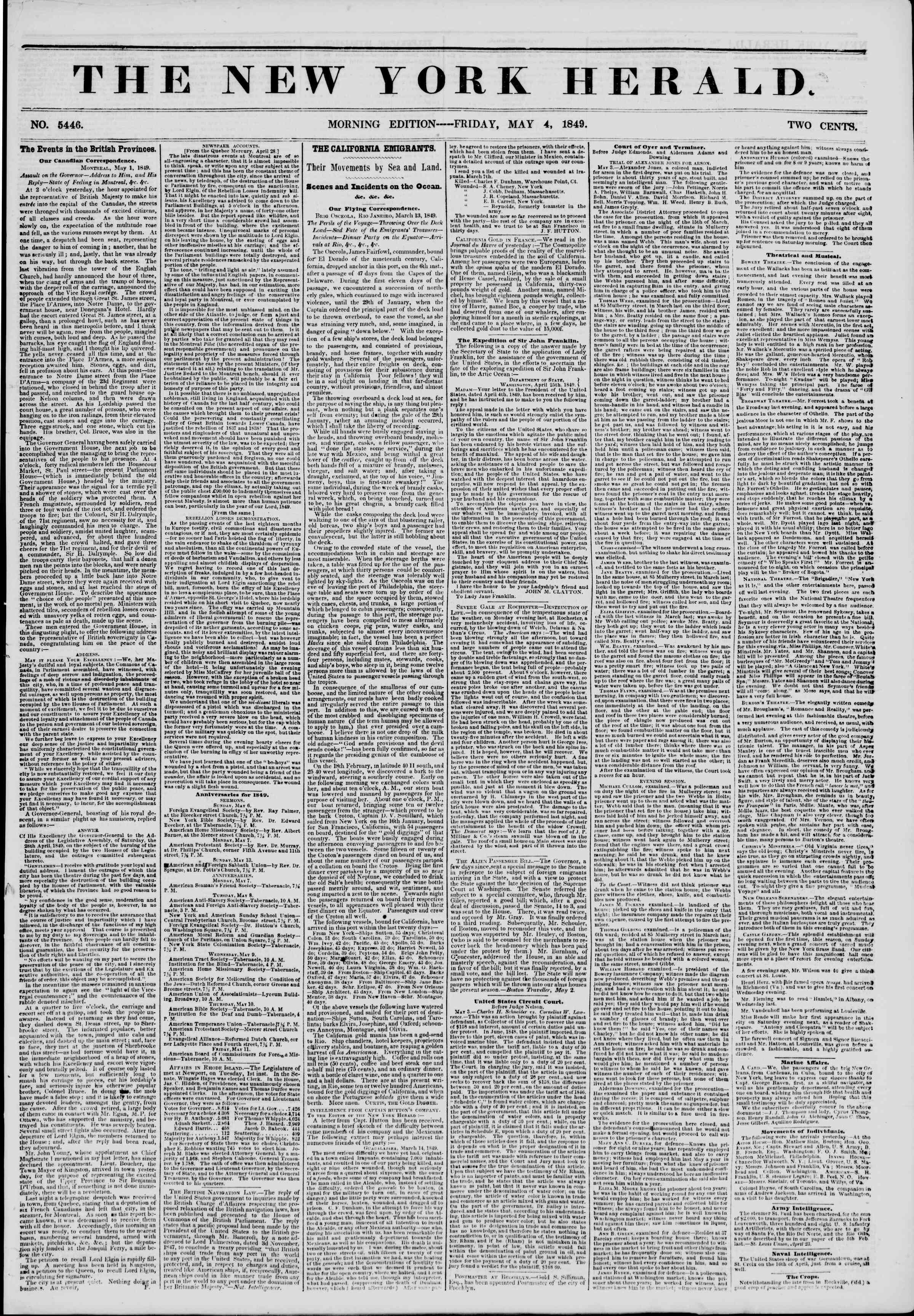 Newspaper of The New York Herald dated May 4, 1849 Page 1