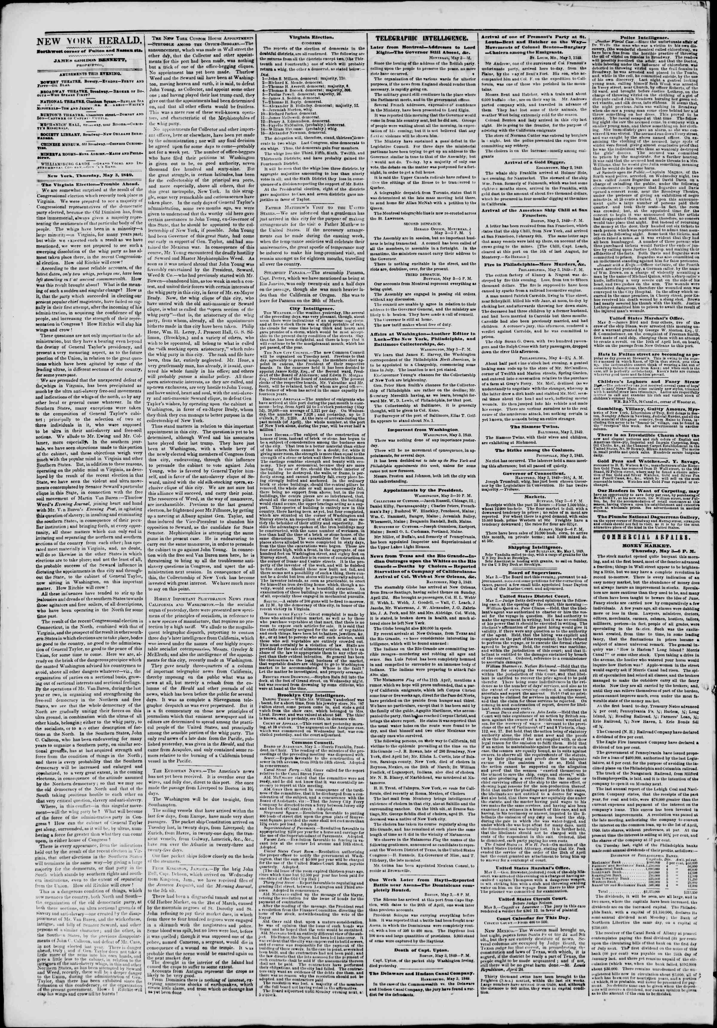 Newspaper of The New York Herald dated May 4, 1849 Page 2