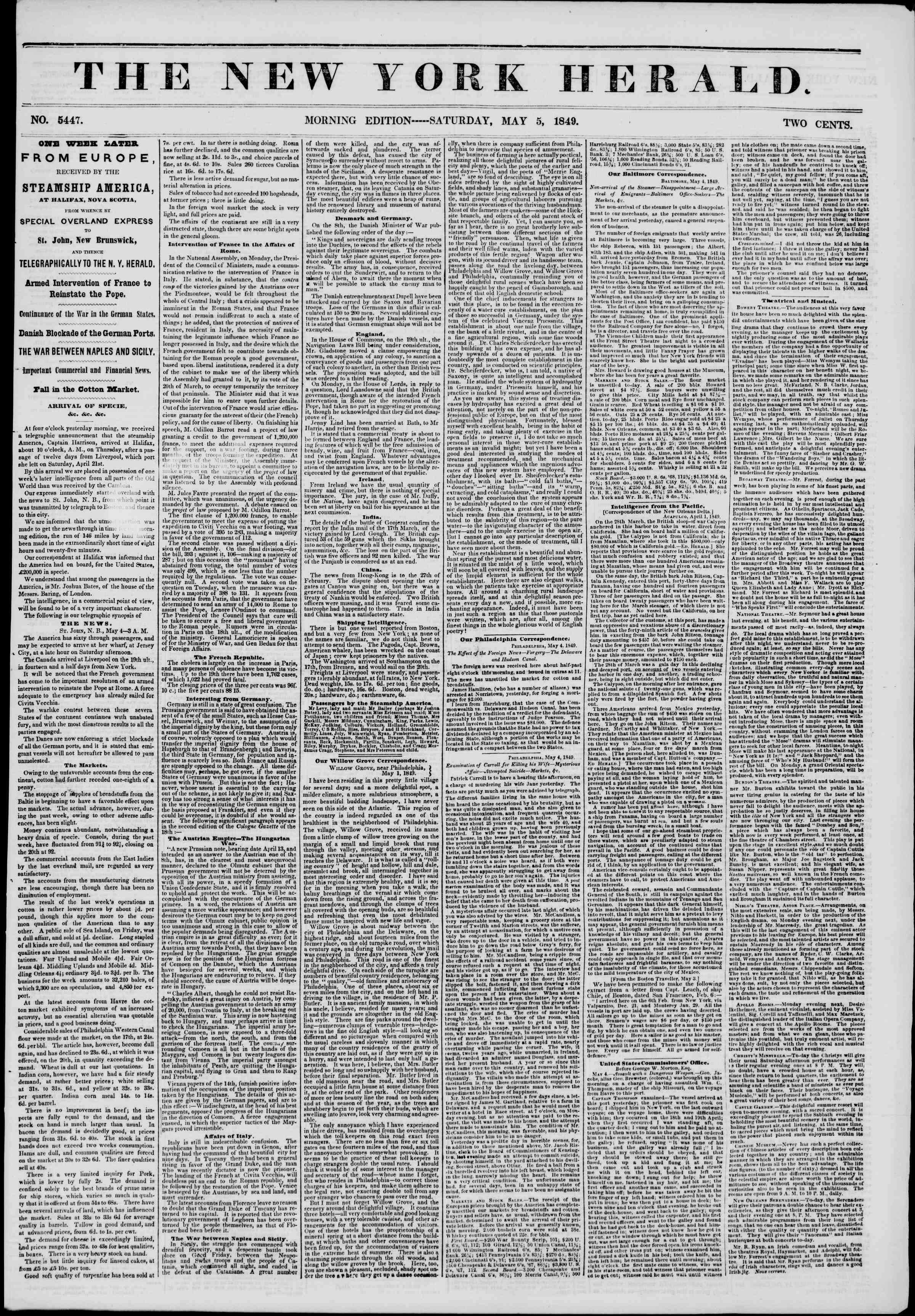 Newspaper of The New York Herald dated May 5, 1849 Page 1
