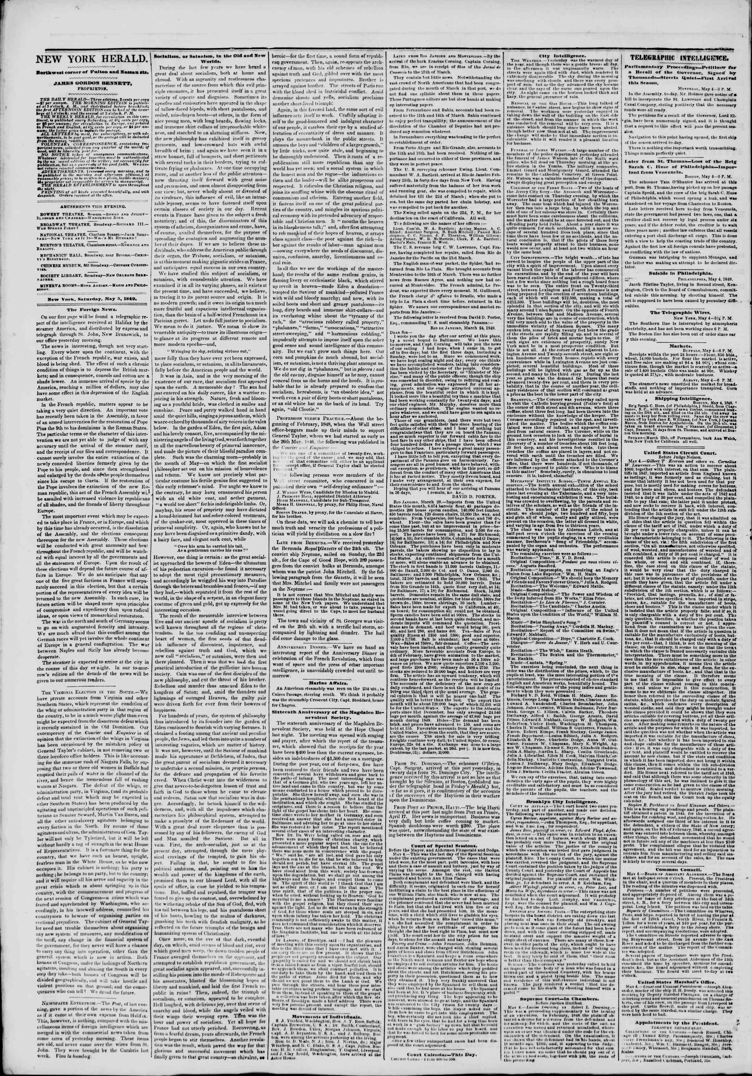 Newspaper of The New York Herald dated May 5, 1849 Page 2