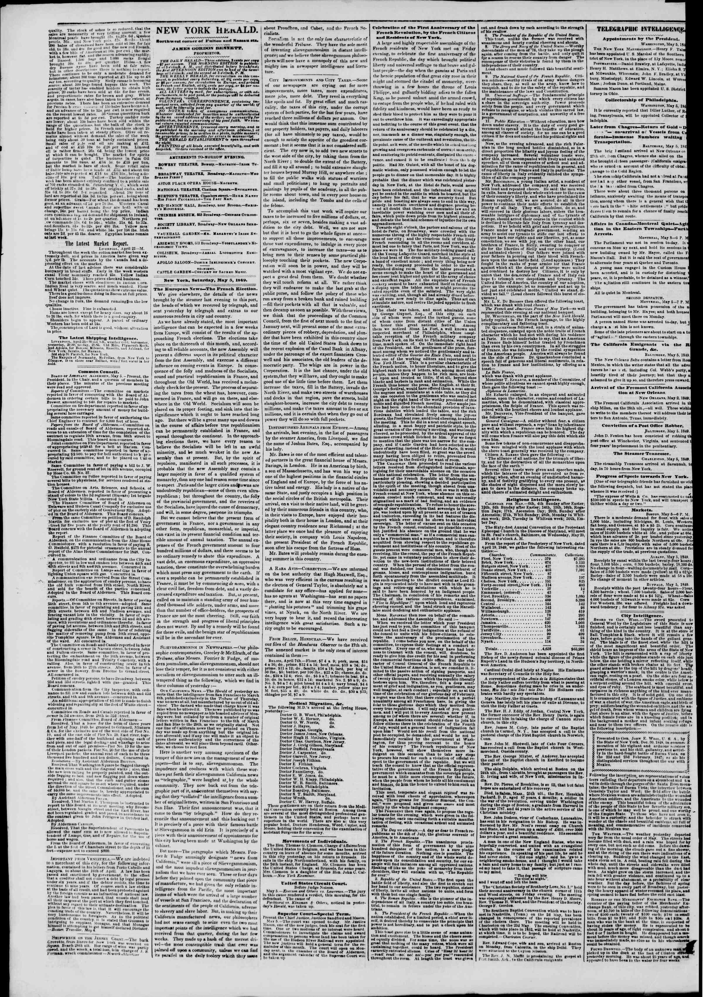 Newspaper of The New York Herald dated May 6, 1849 Page 2