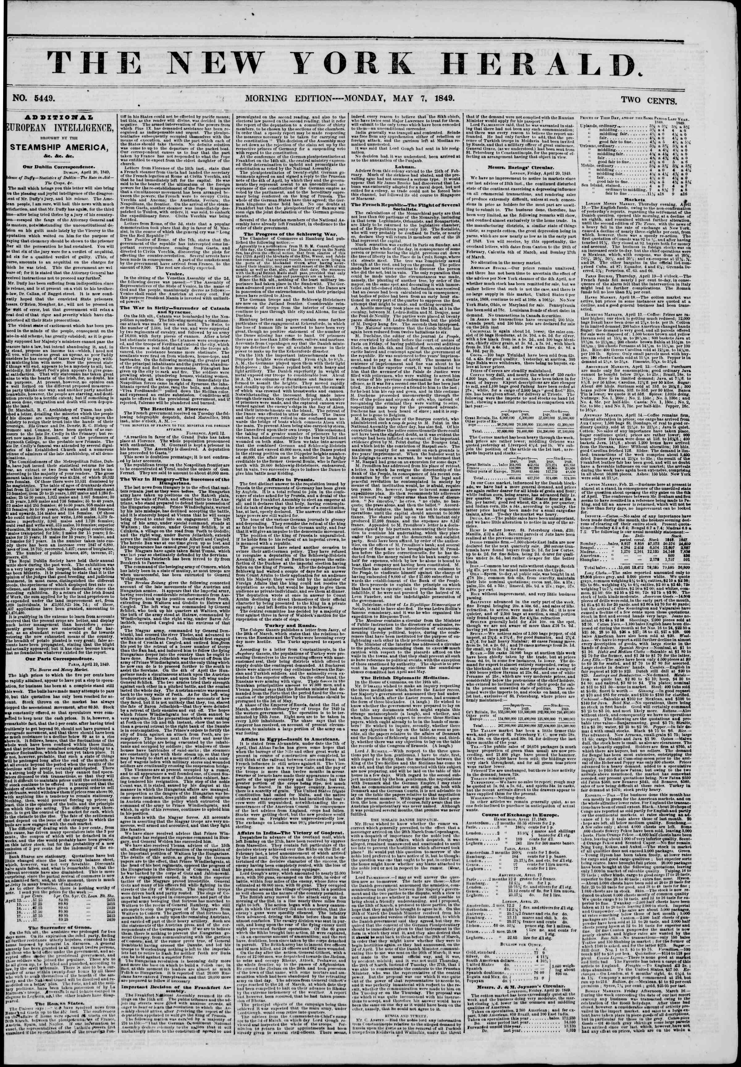 Newspaper of The New York Herald dated May 7, 1849 Page 2