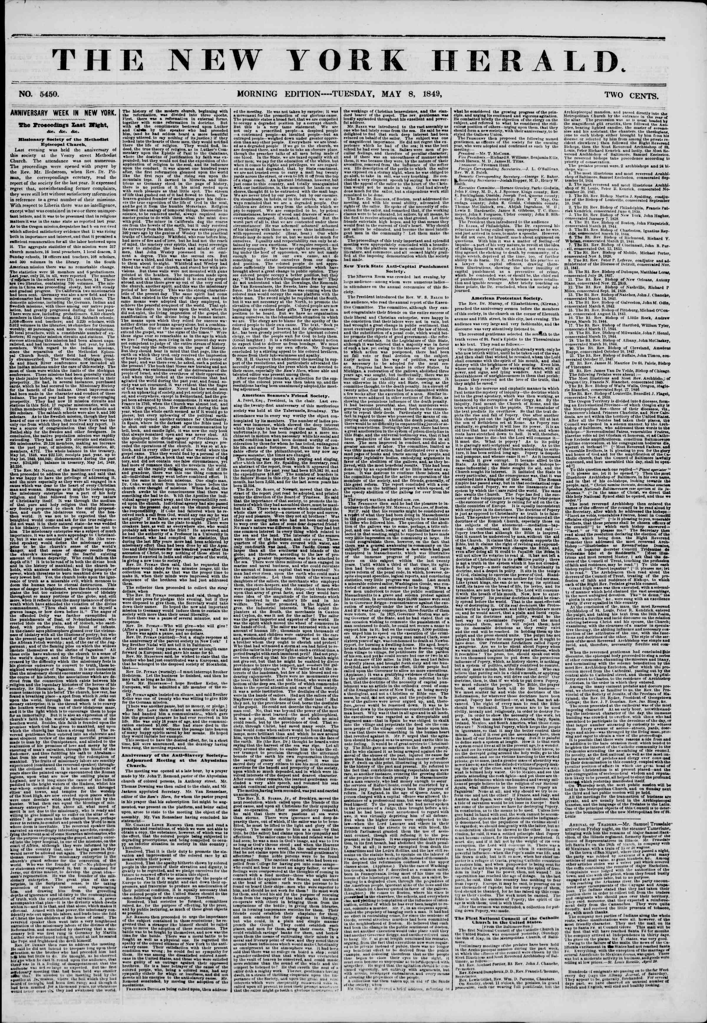 Newspaper of The New York Herald dated May 8, 1849 Page 1