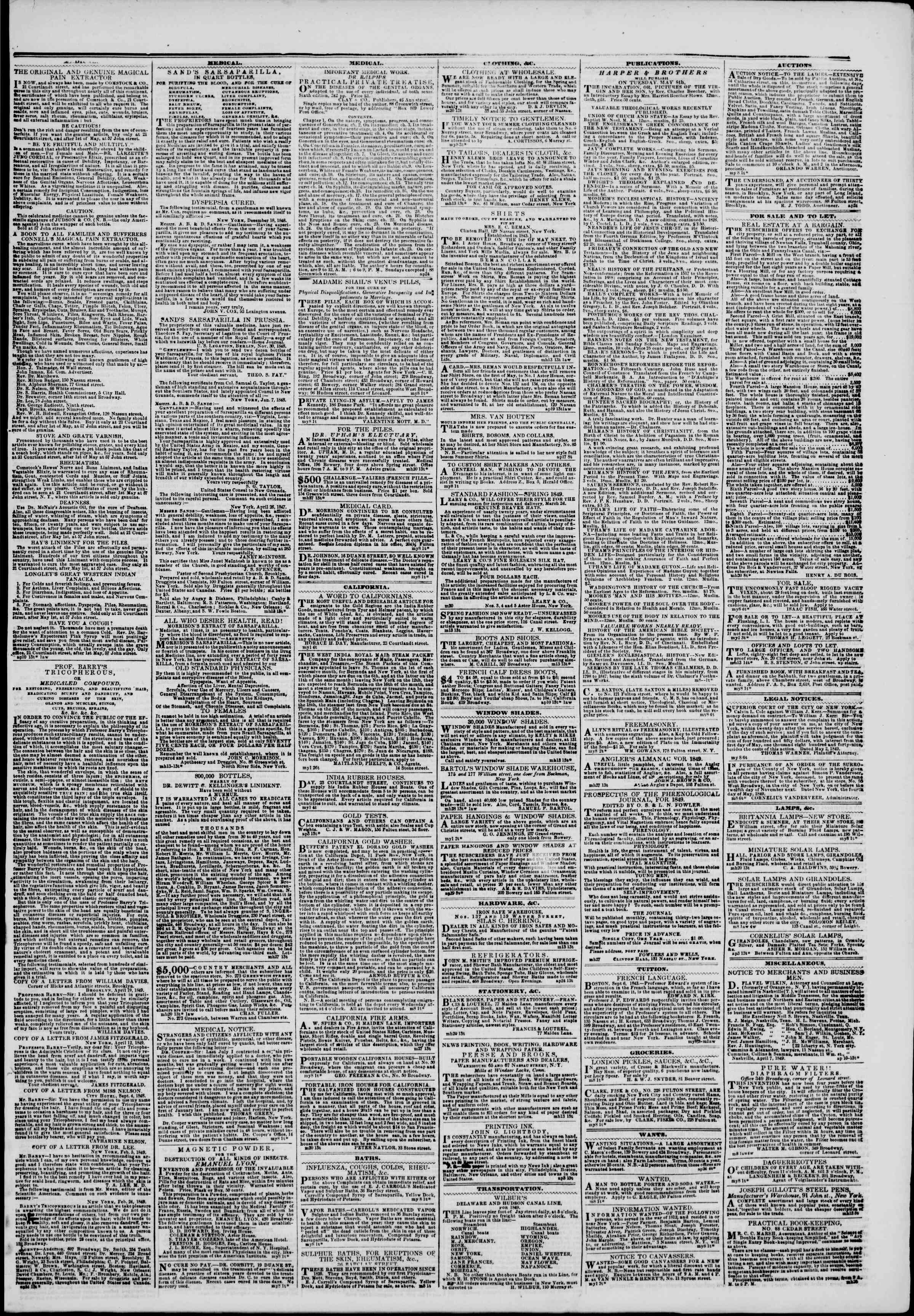 Newspaper of The New York Herald dated May 8, 1849 Page 3