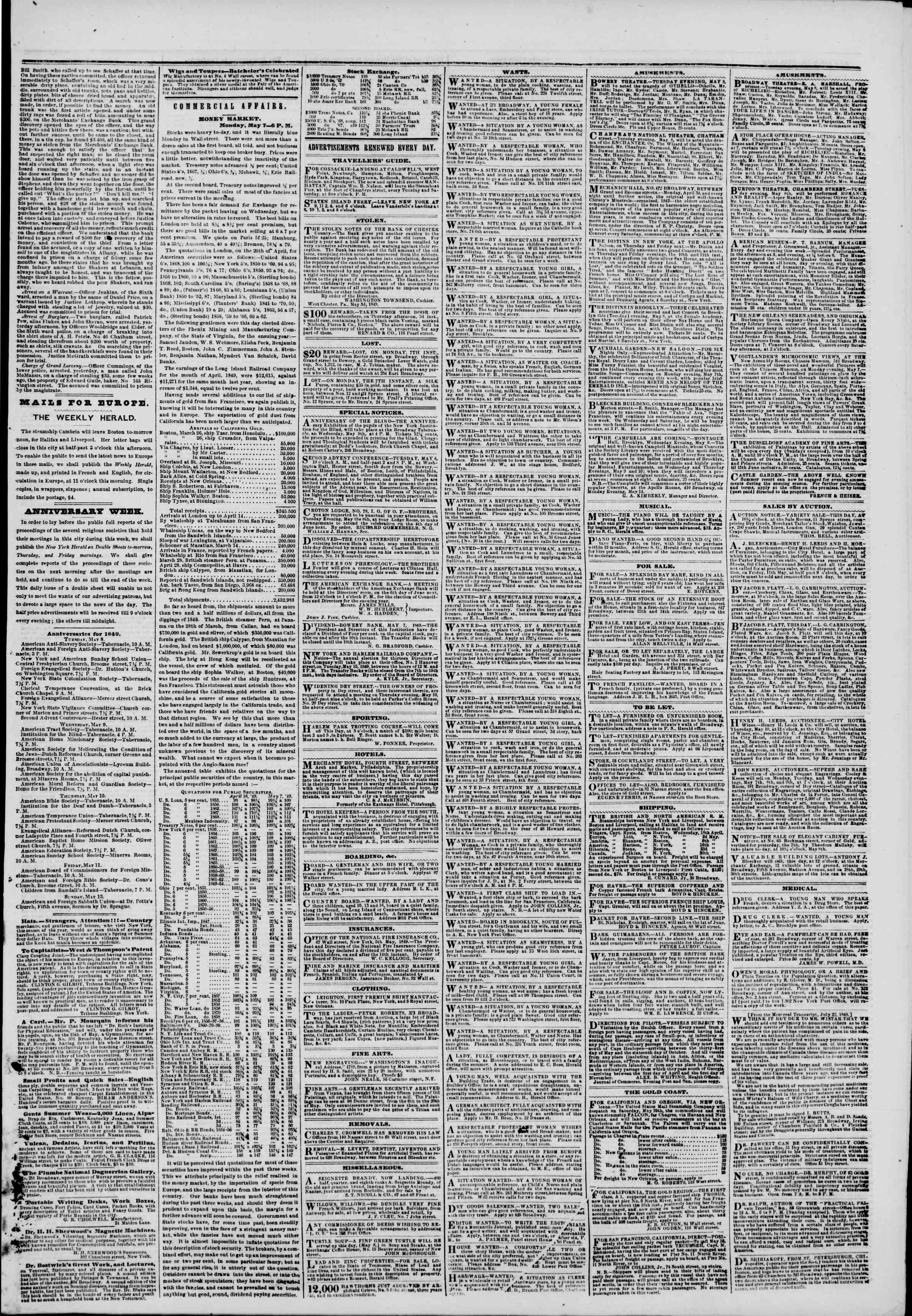 Newspaper of The New York Herald dated May 8, 1849 Page 5