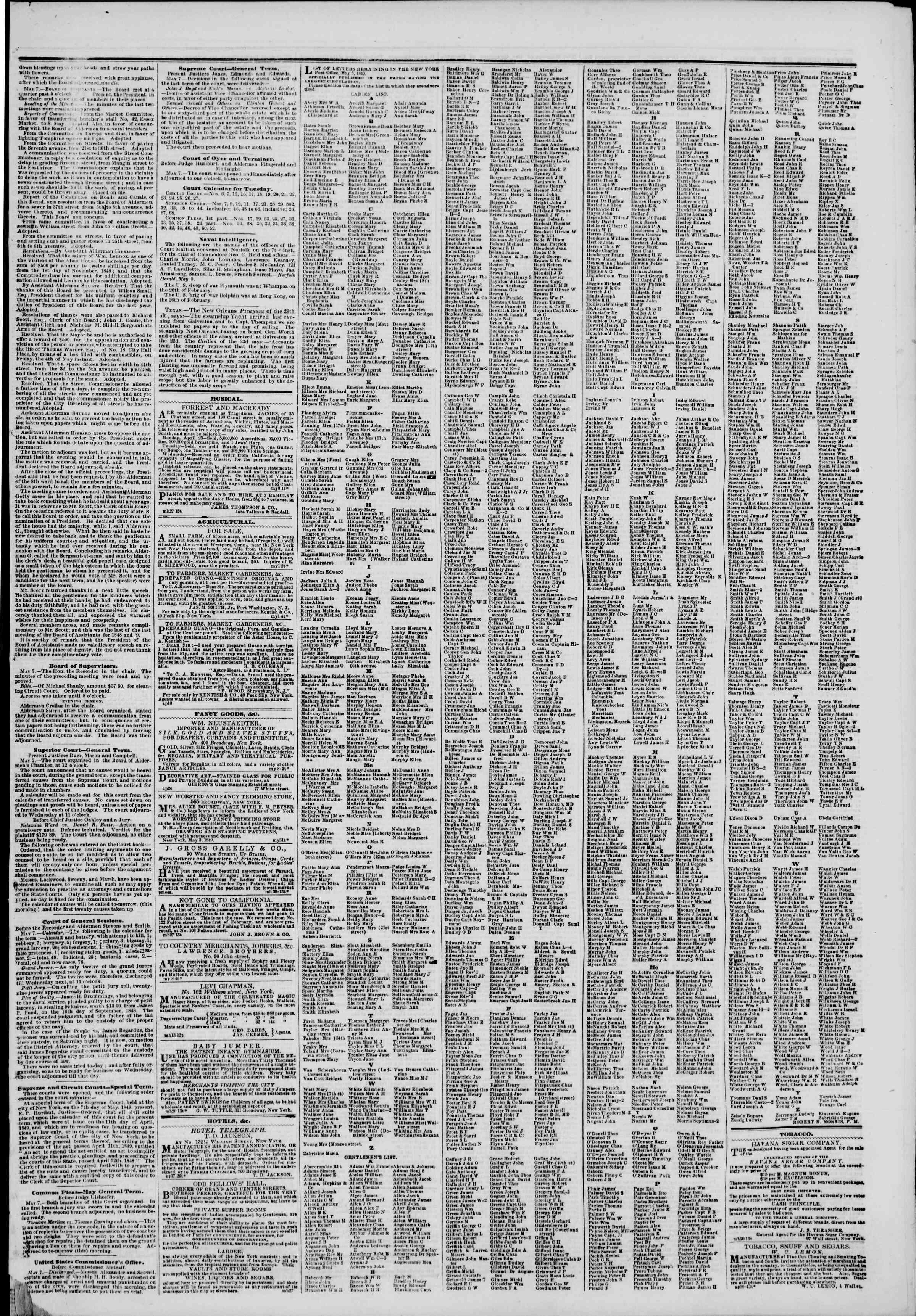 Newspaper of The New York Herald dated May 8, 1849 Page 7