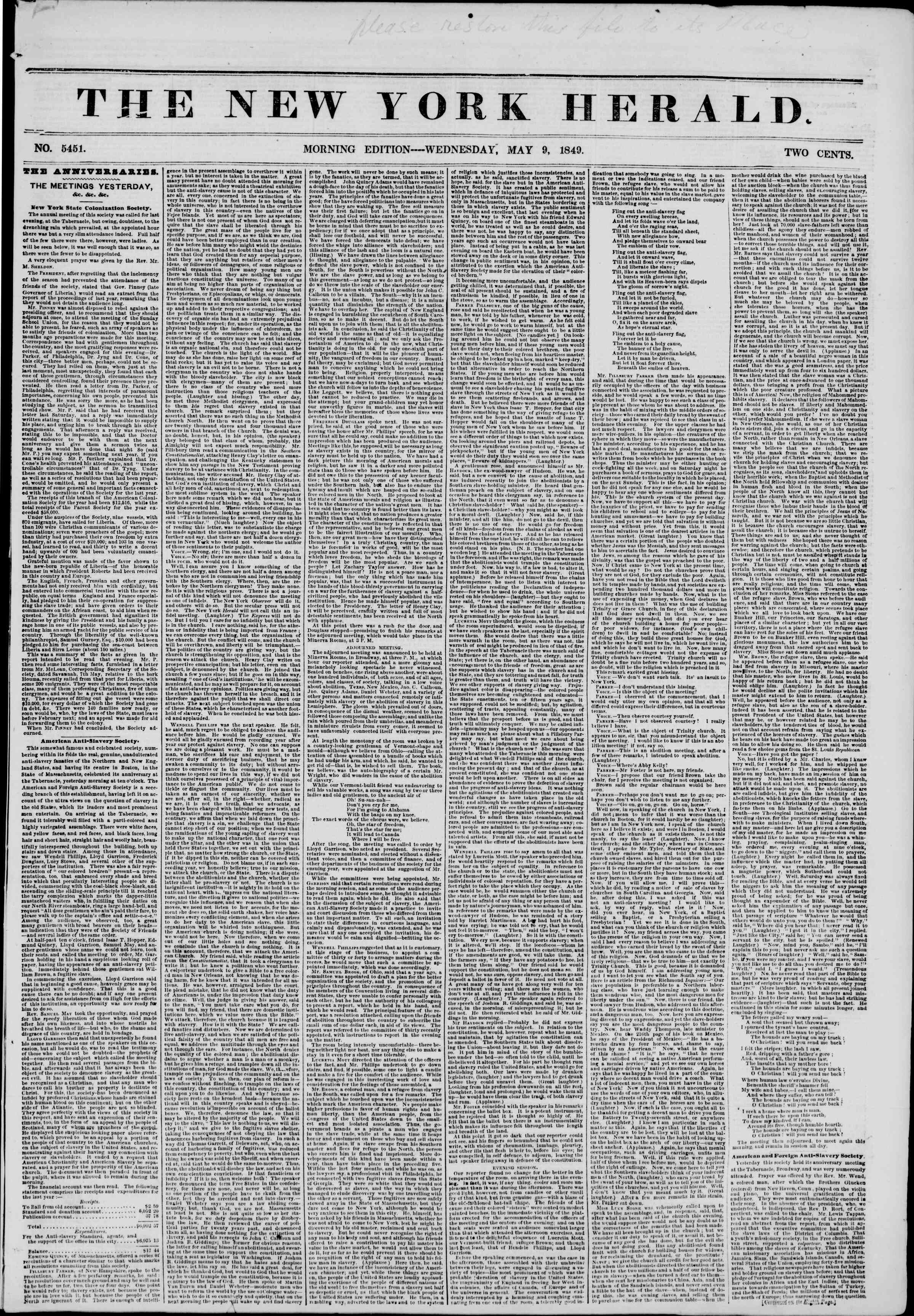 Newspaper of The New York Herald dated May 9, 1849 Page 1