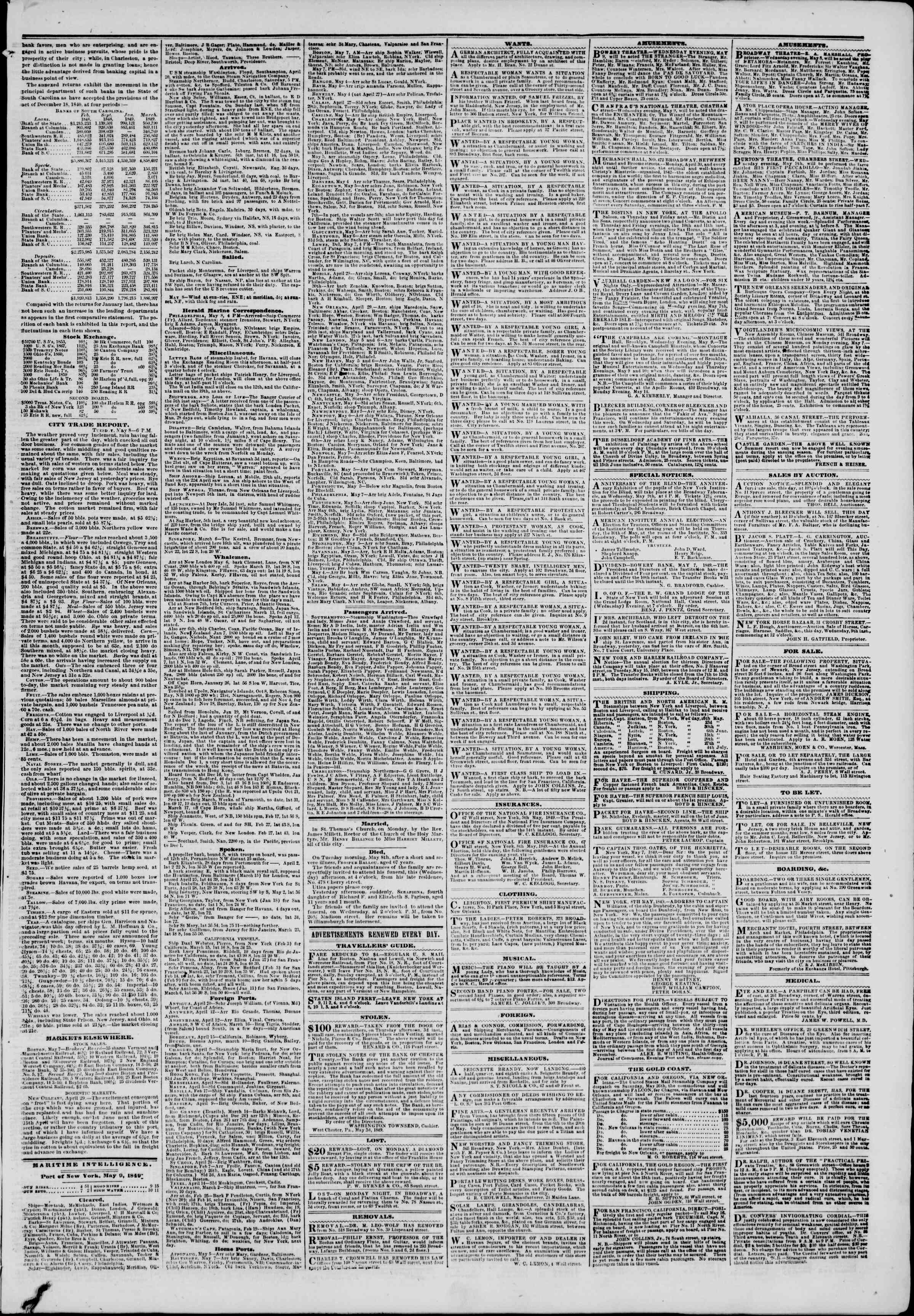 Newspaper of The New York Herald dated May 9, 1849 Page 5