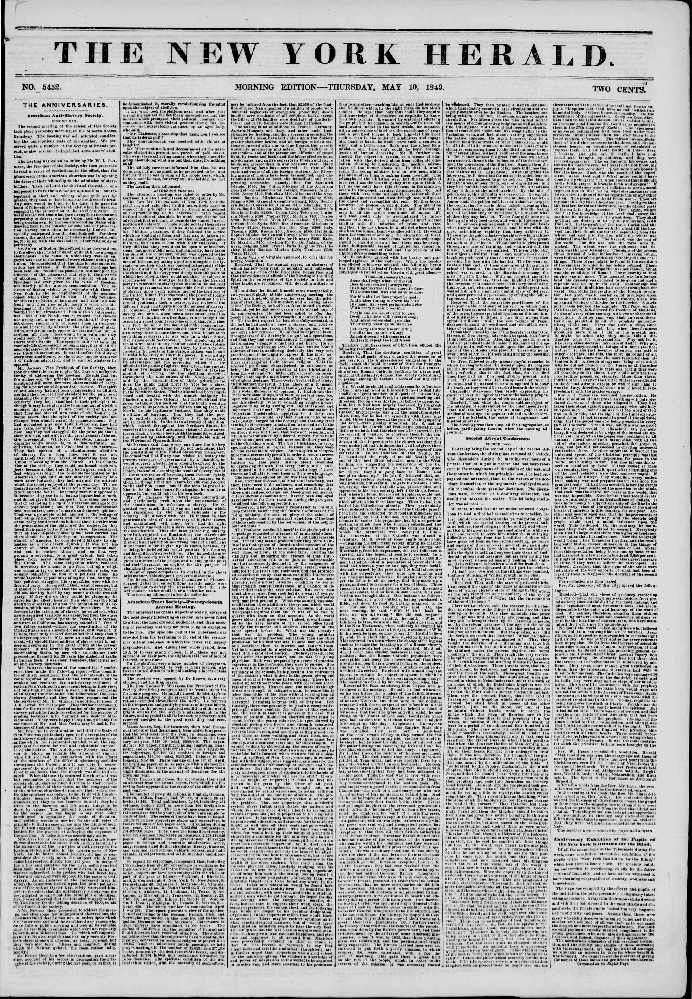Newspaper of The New York Herald dated May 10, 1849 Page 1