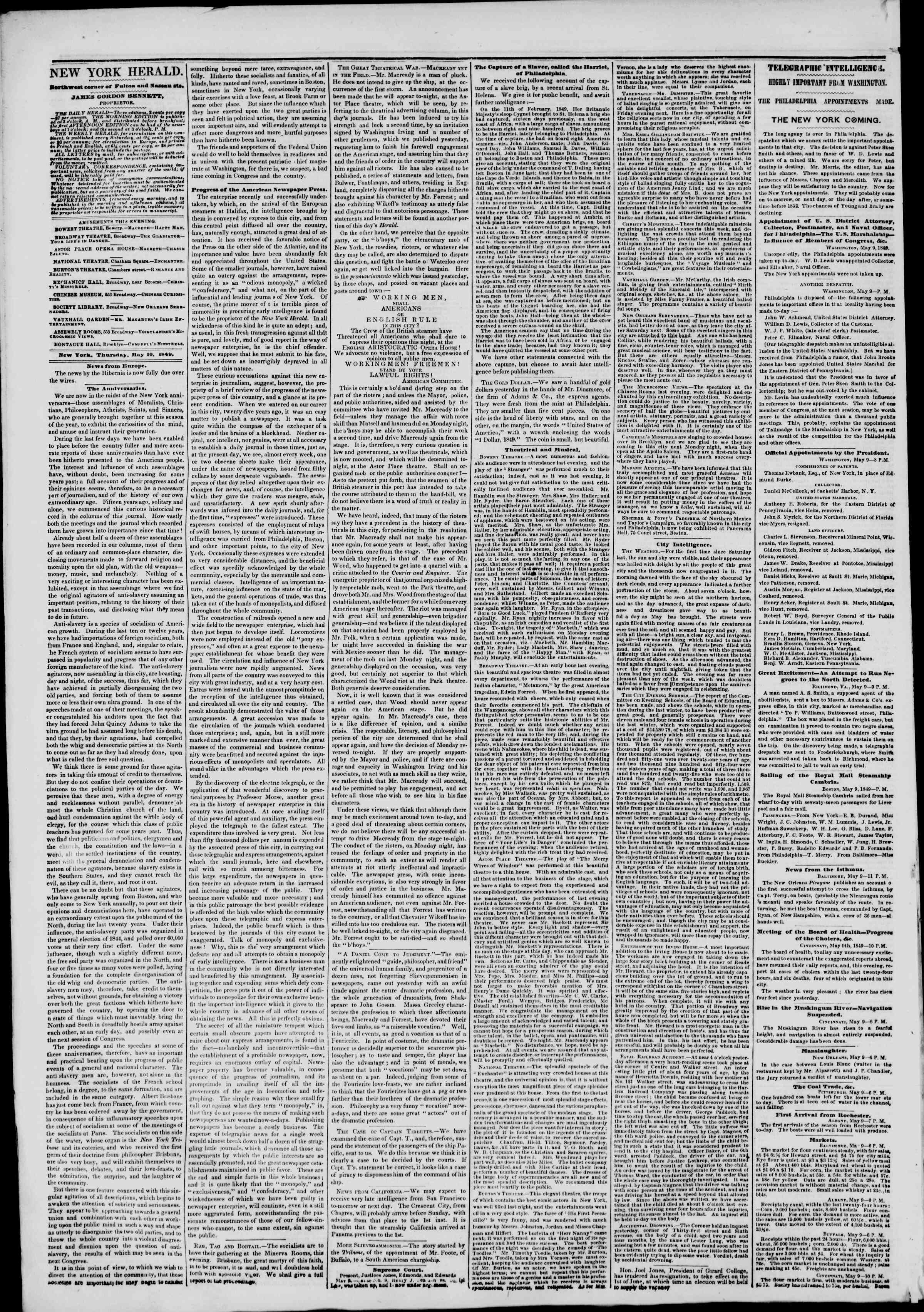 Newspaper of The New York Herald dated May 10, 1849 Page 4
