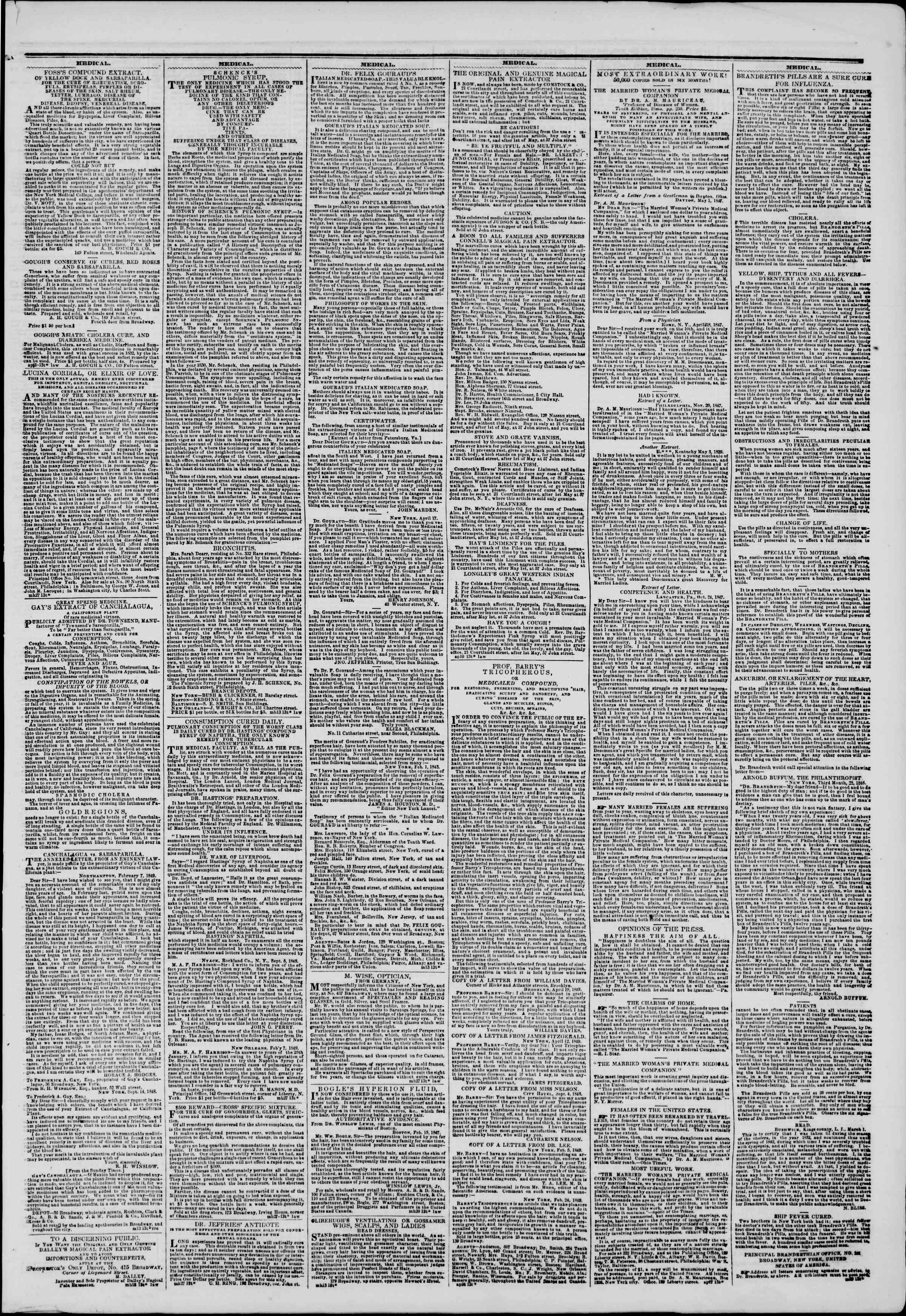 Newspaper of The New York Herald dated May 10, 1849 Page 7